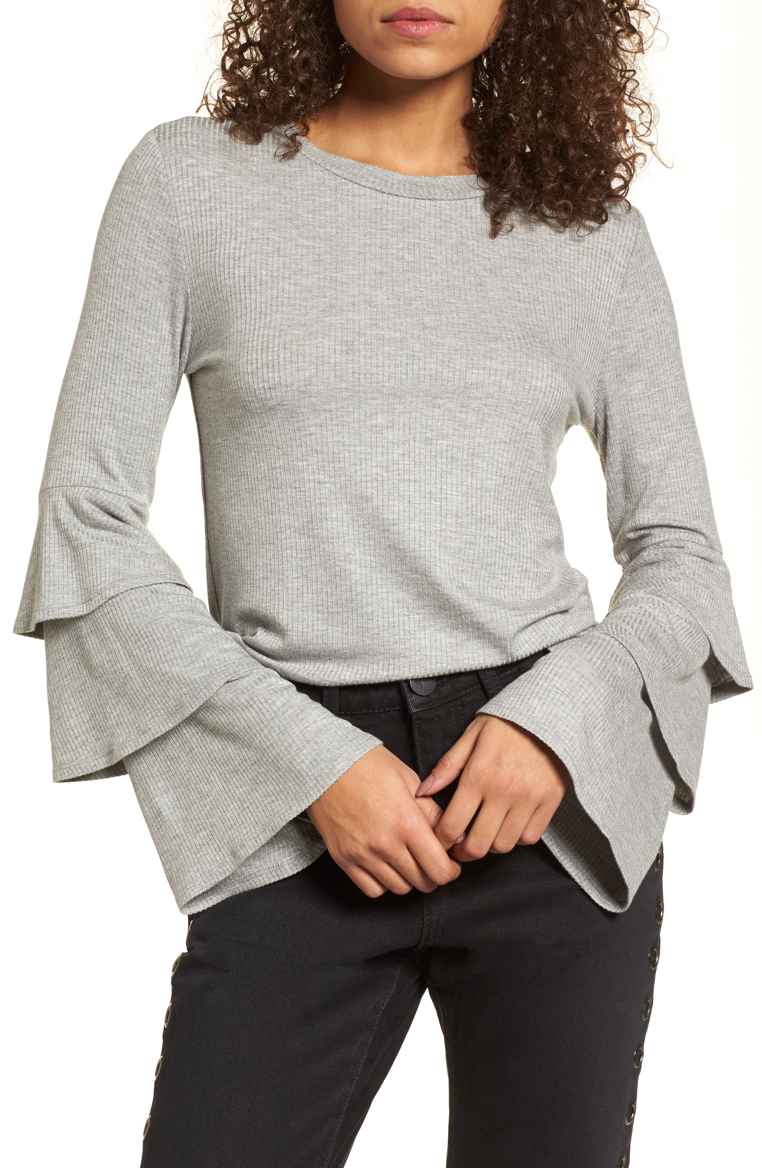 Ruffle Sleeve Ribbed Sweater,                             Main thumbnail 1, color,                             Grey Medium Heather