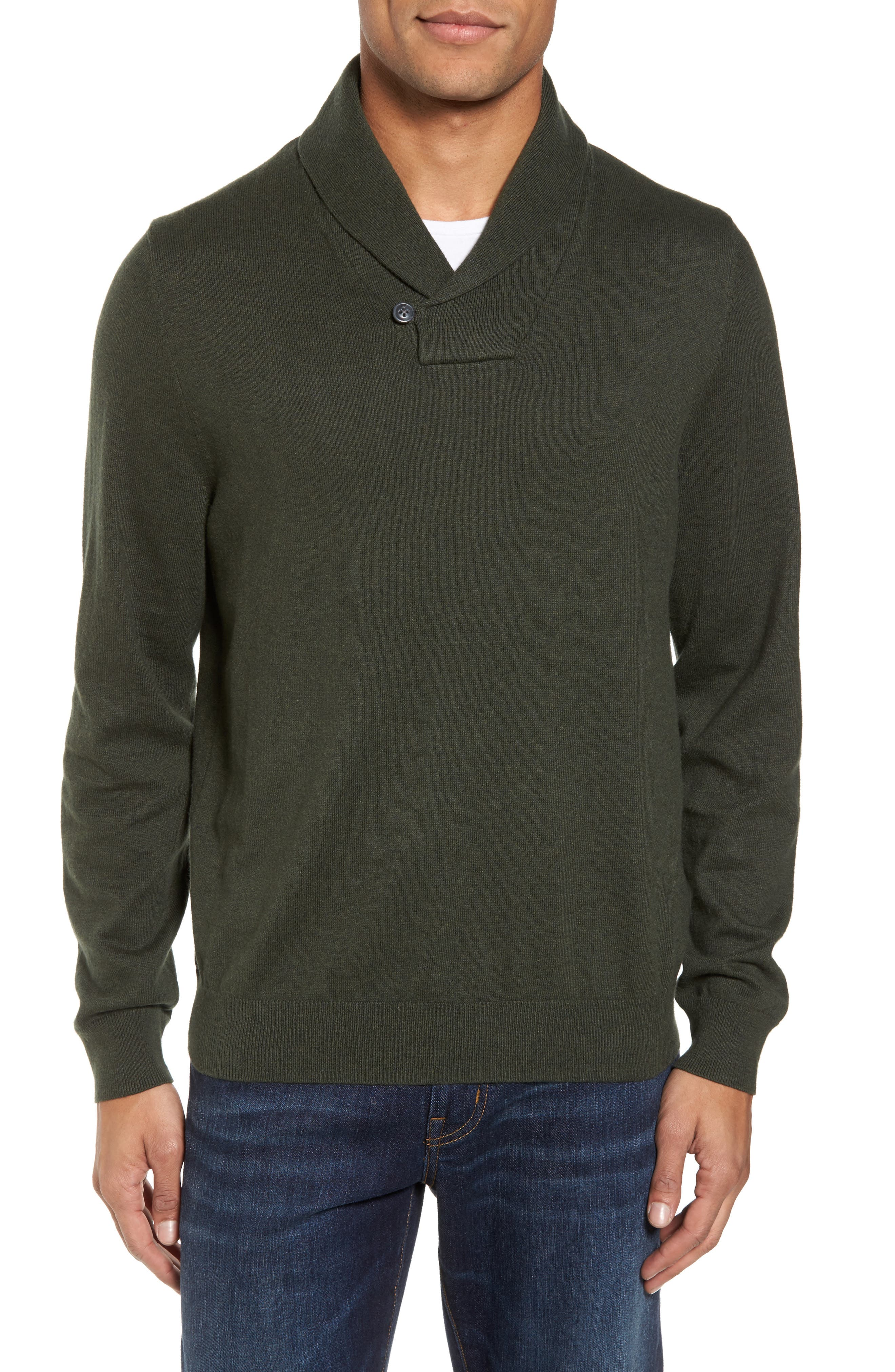 Cotton & Cashmere Shawl Collar Sweater,                             Main thumbnail 1, color,                             Green Deep Pine