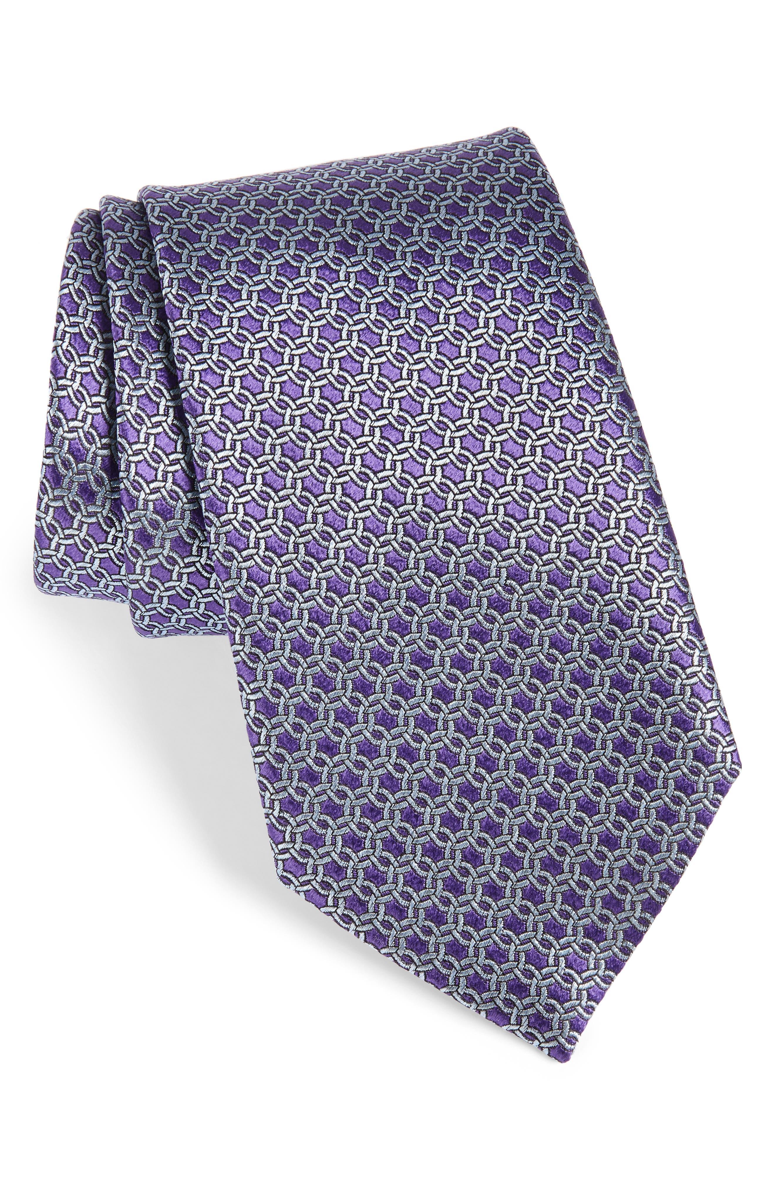 Geometric Silk Tie,                             Main thumbnail 1, color,                             Purple