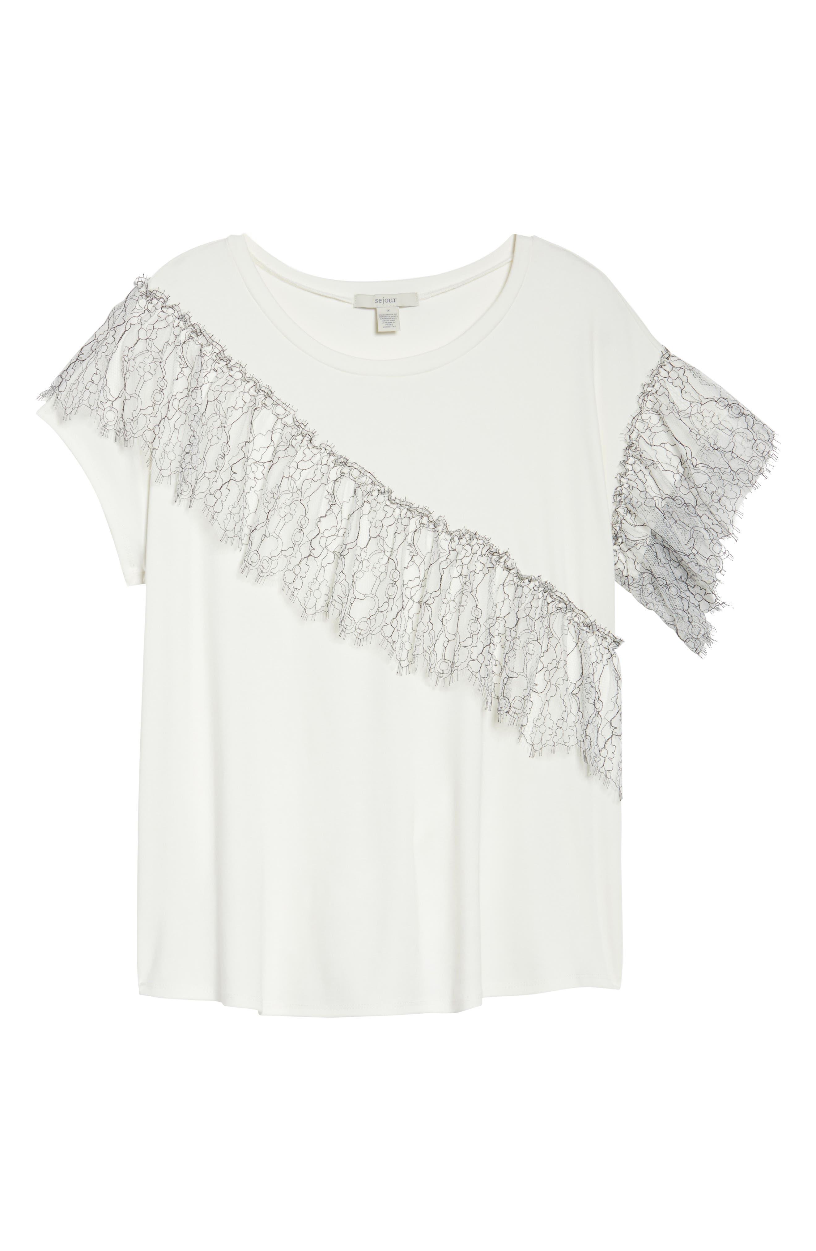 Asymmetrical Lace Tee,                             Alternate thumbnail 6, color,                             White- Black