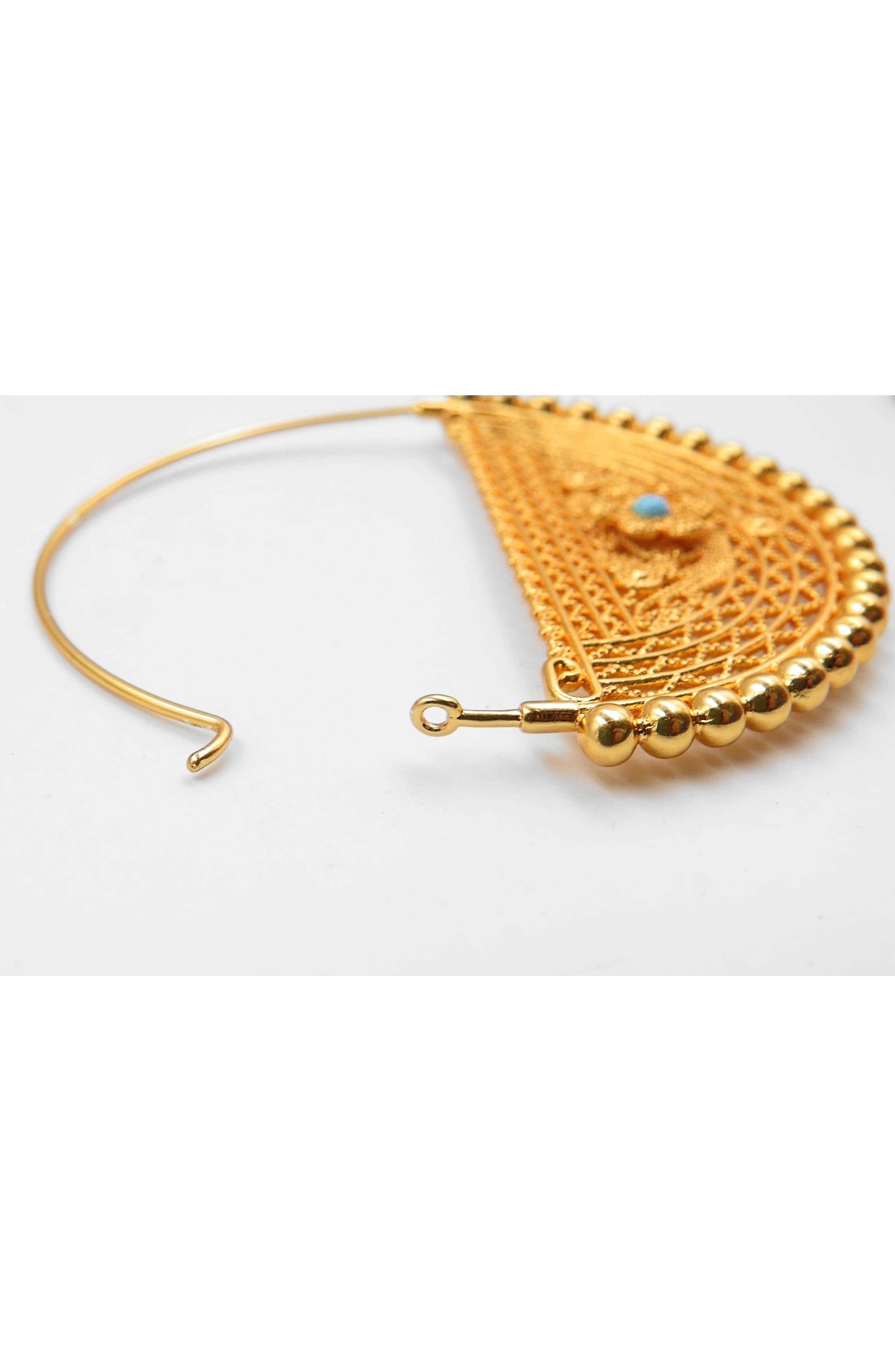 Filigree Hoop Earrings,                             Alternate thumbnail 3, color,                             Gold
