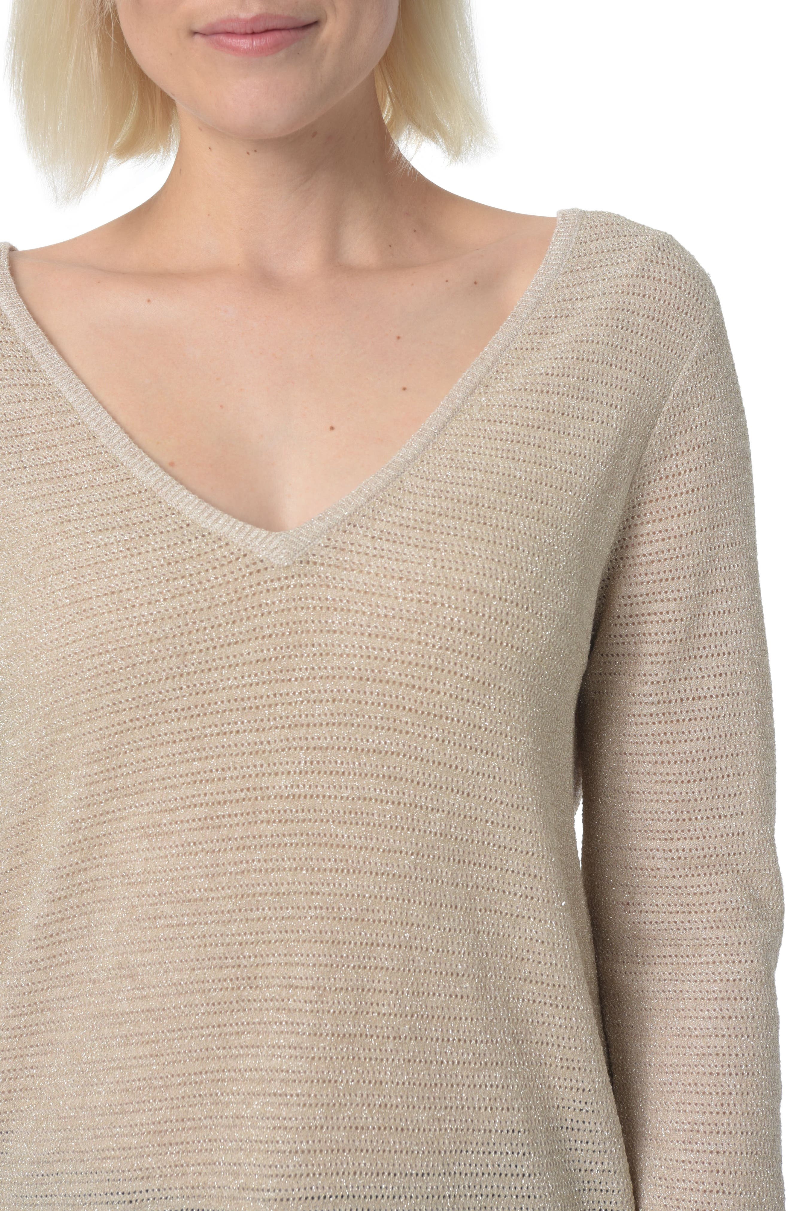 Double V-Neck Sweater,                             Alternate thumbnail 3, color,                             Heather Vanilla