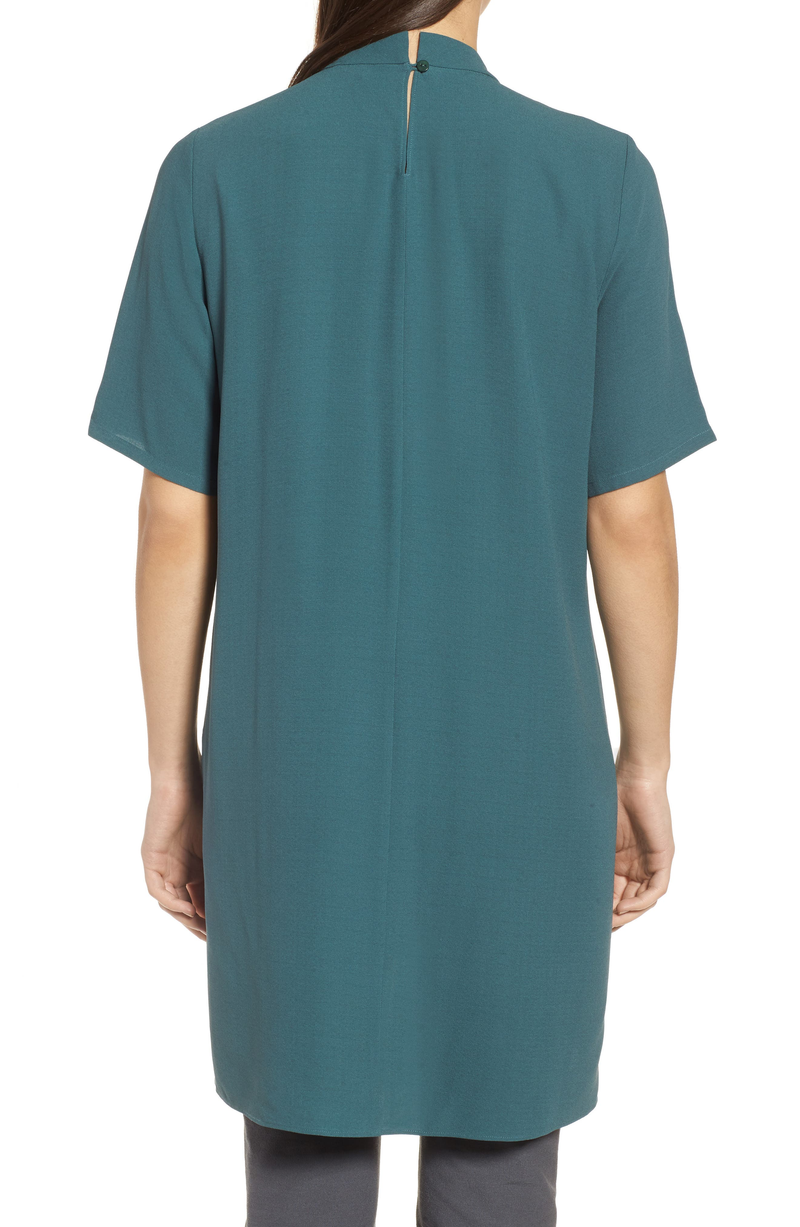 High Neck Silk Tunic,                             Alternate thumbnail 2, color,                             Dragonfly
