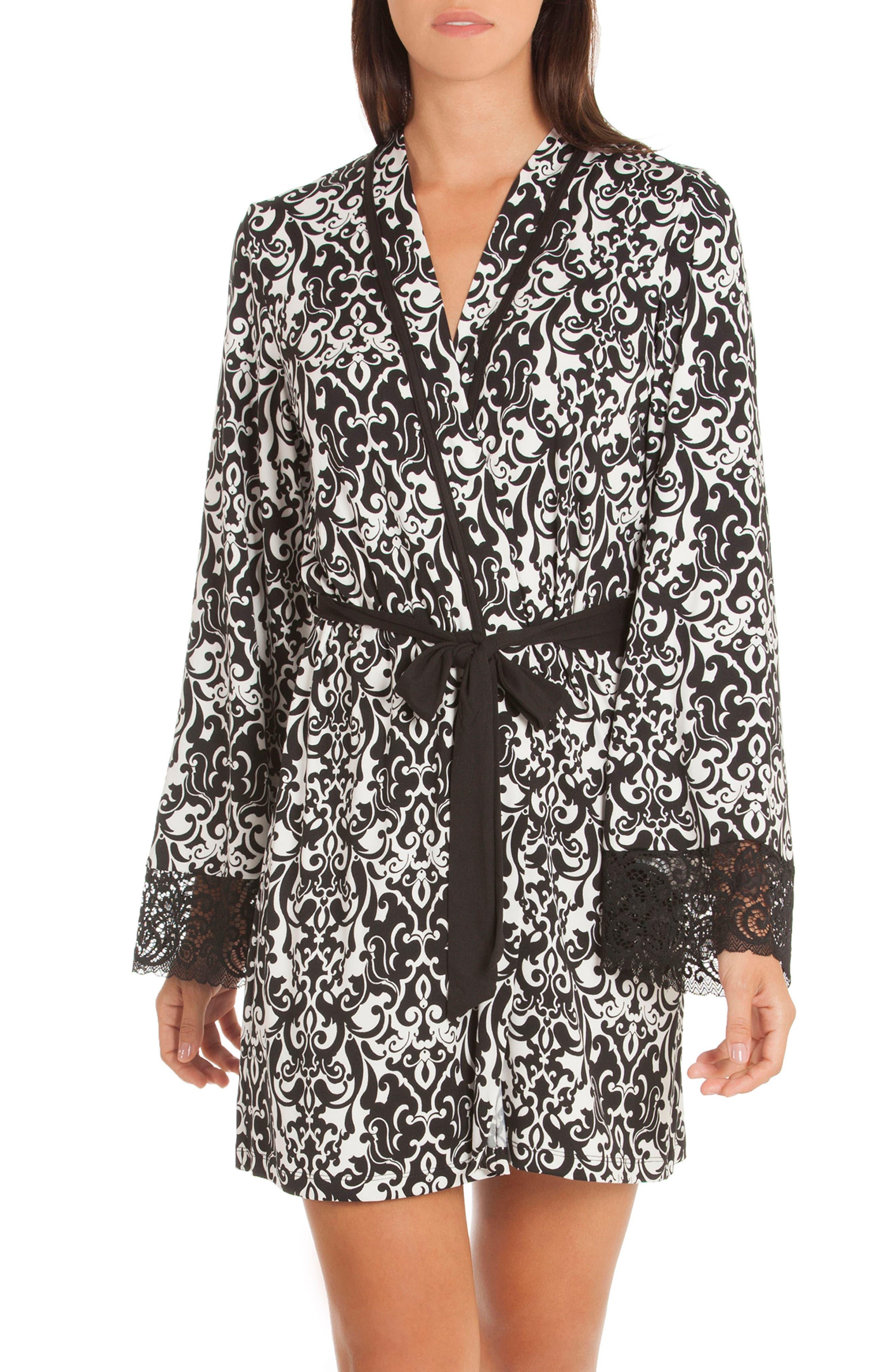 Konya Short Robe,                         Main,                         color, Black/ Ivory