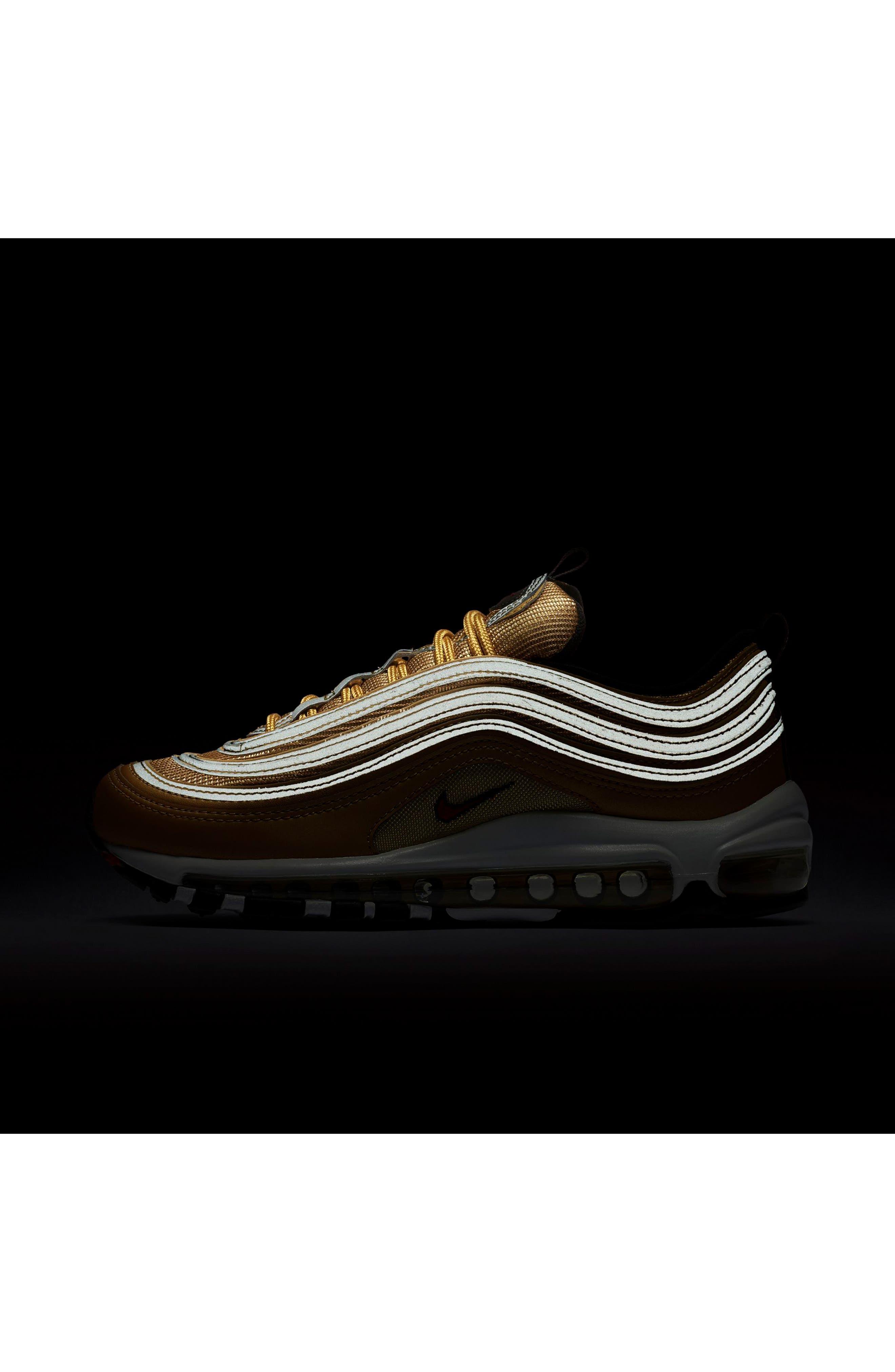 Air Max 97 OG Sneaker,                             Alternate thumbnail 7, color,                             Gold/ Red/ White/ Black