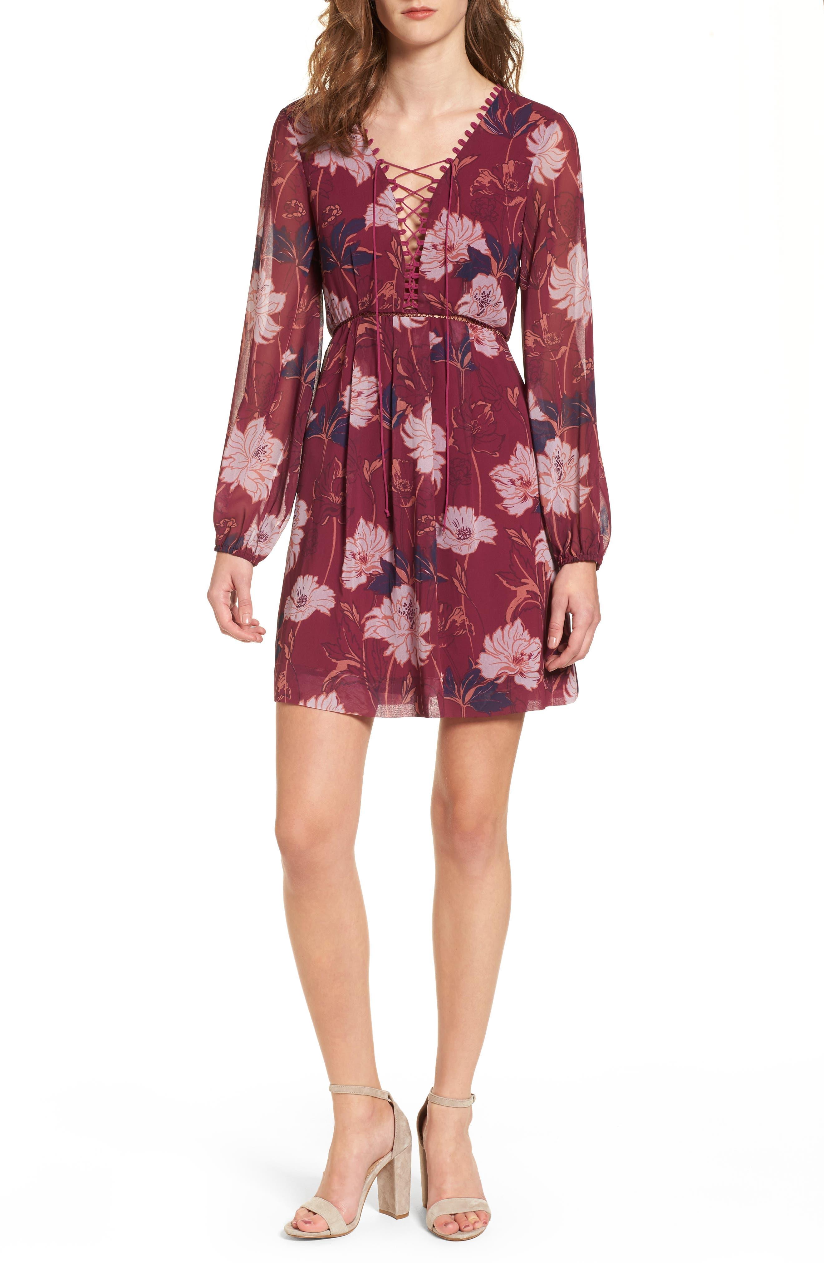 Floral Haze Minidress,                         Main,                         color, Boysenberry