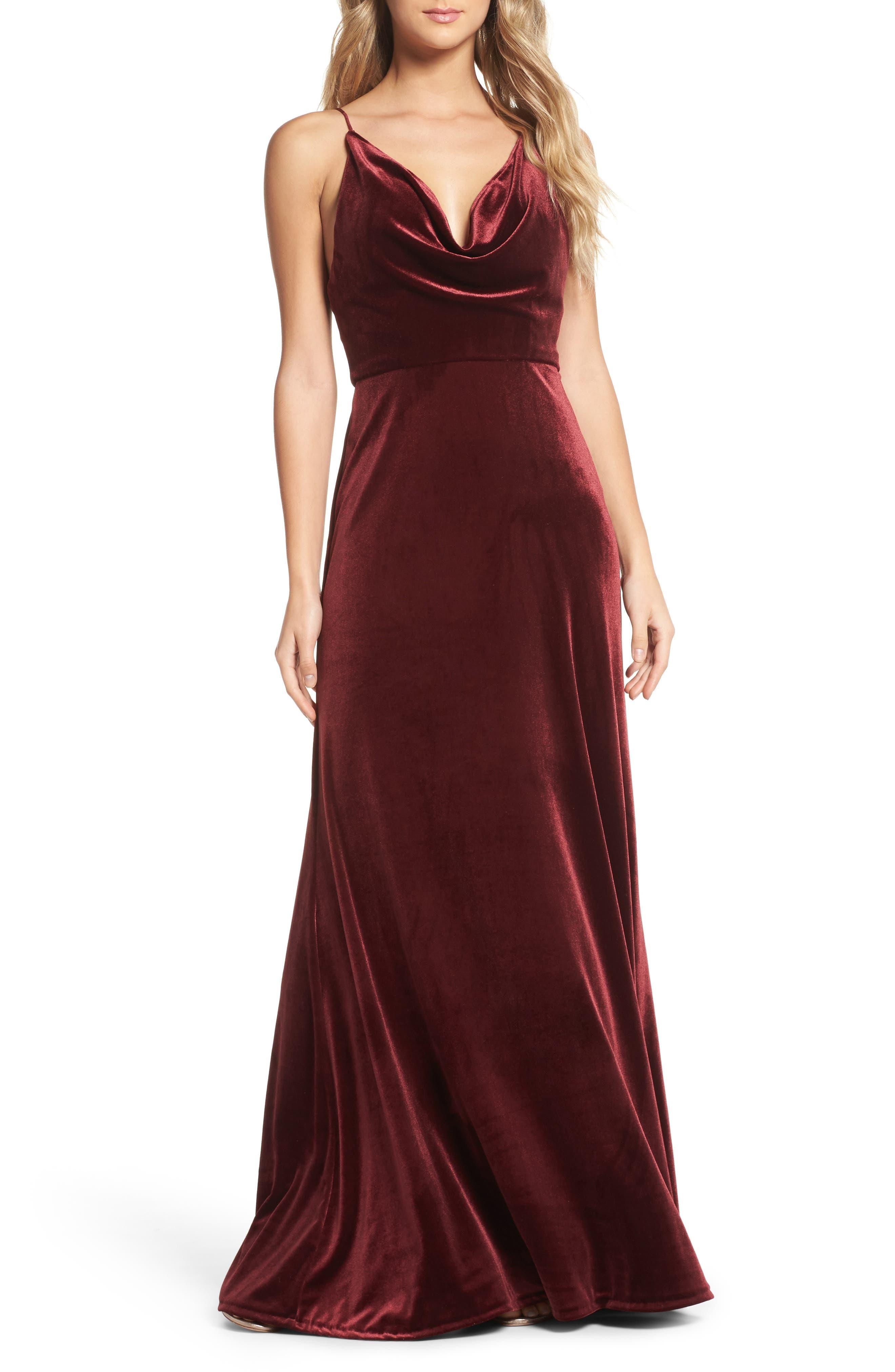 Sullivan Velvet Cowl Neck Gown,                             Main thumbnail 1, color,                             Dark Berry