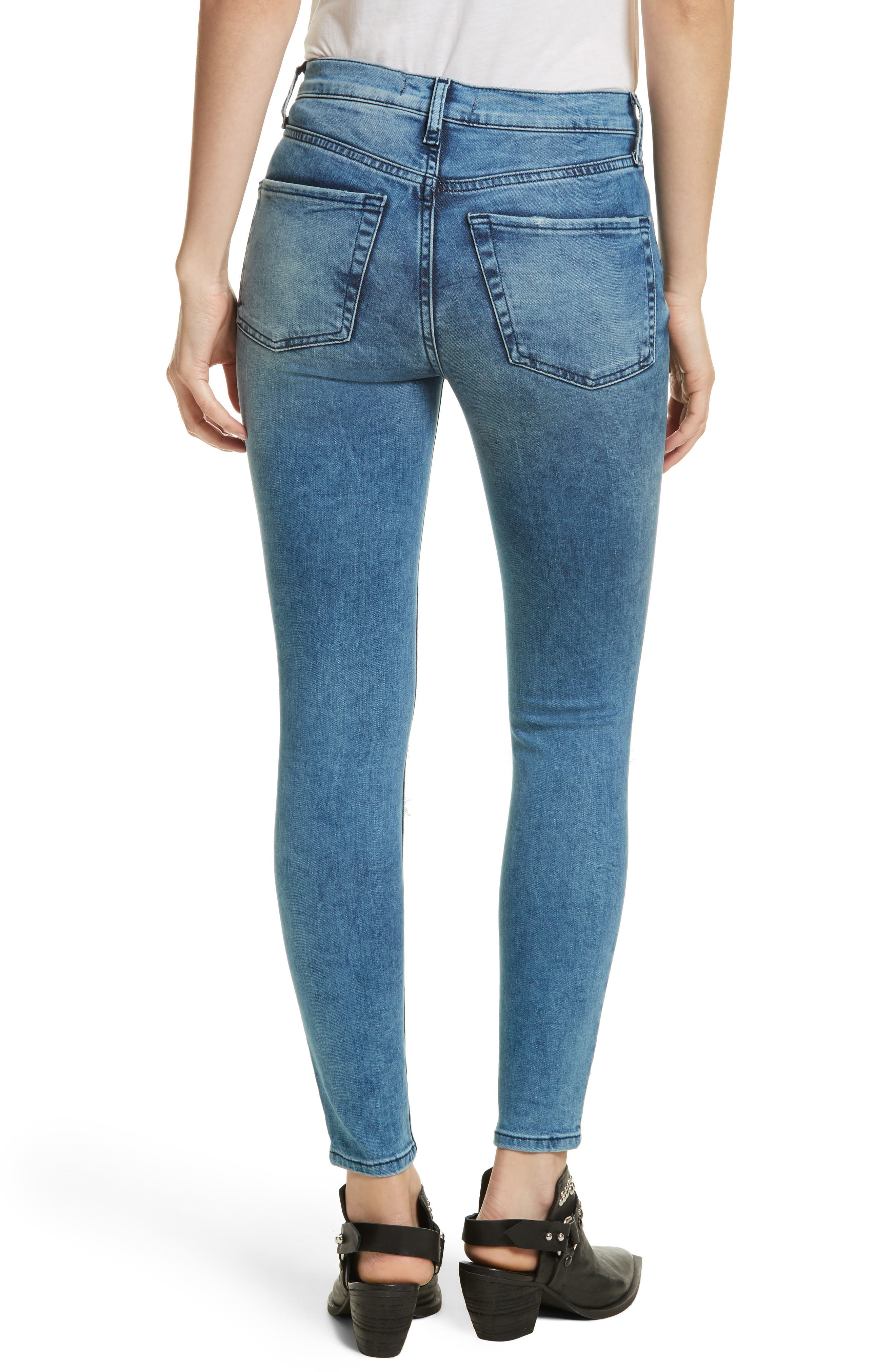 High Rise Busted Knee Skinny Jeans,                             Alternate thumbnail 2, color,                             Turquoise