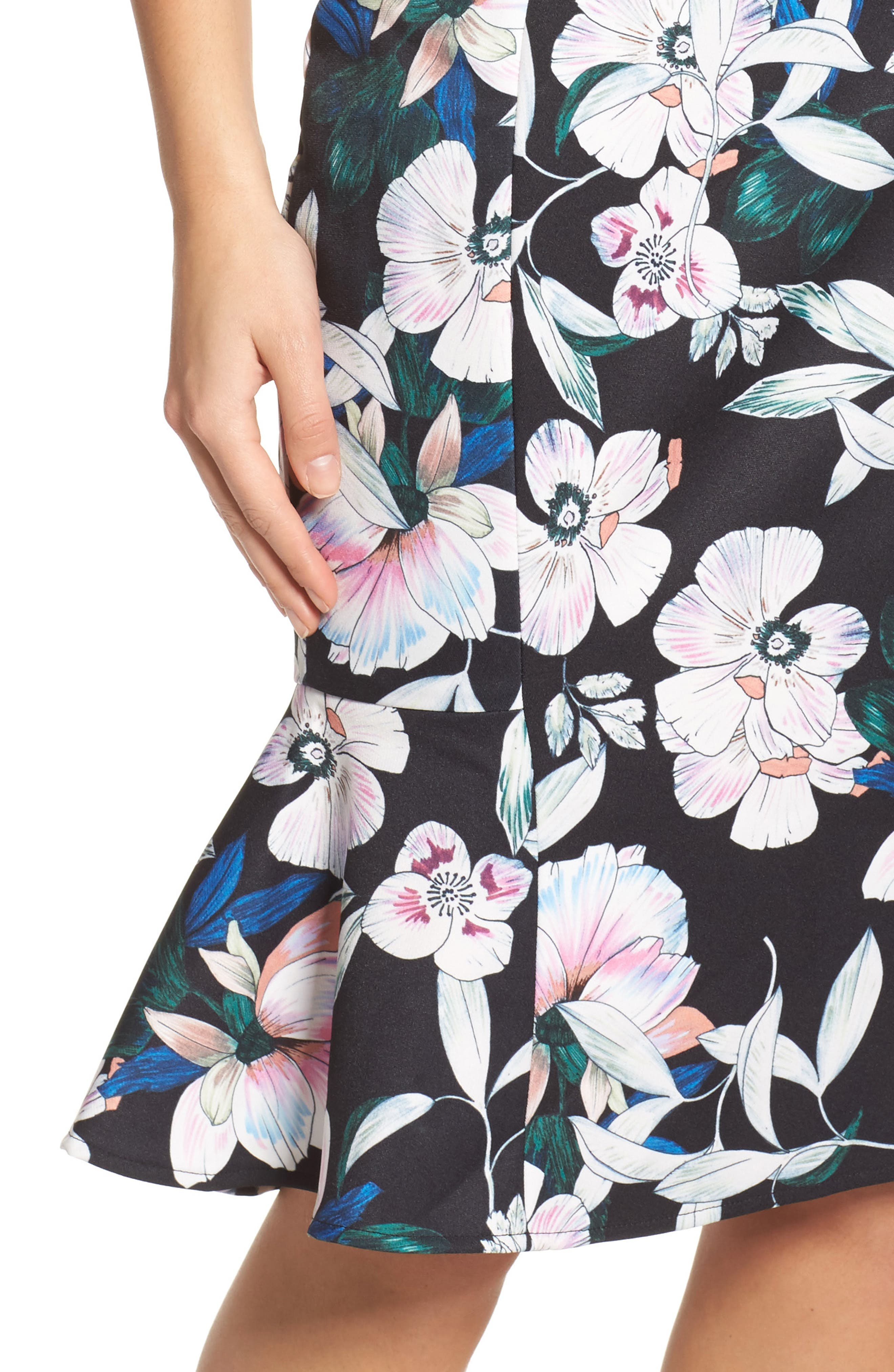 Whimsical Blooms Strapless Dress,                             Alternate thumbnail 4, color,                             Print