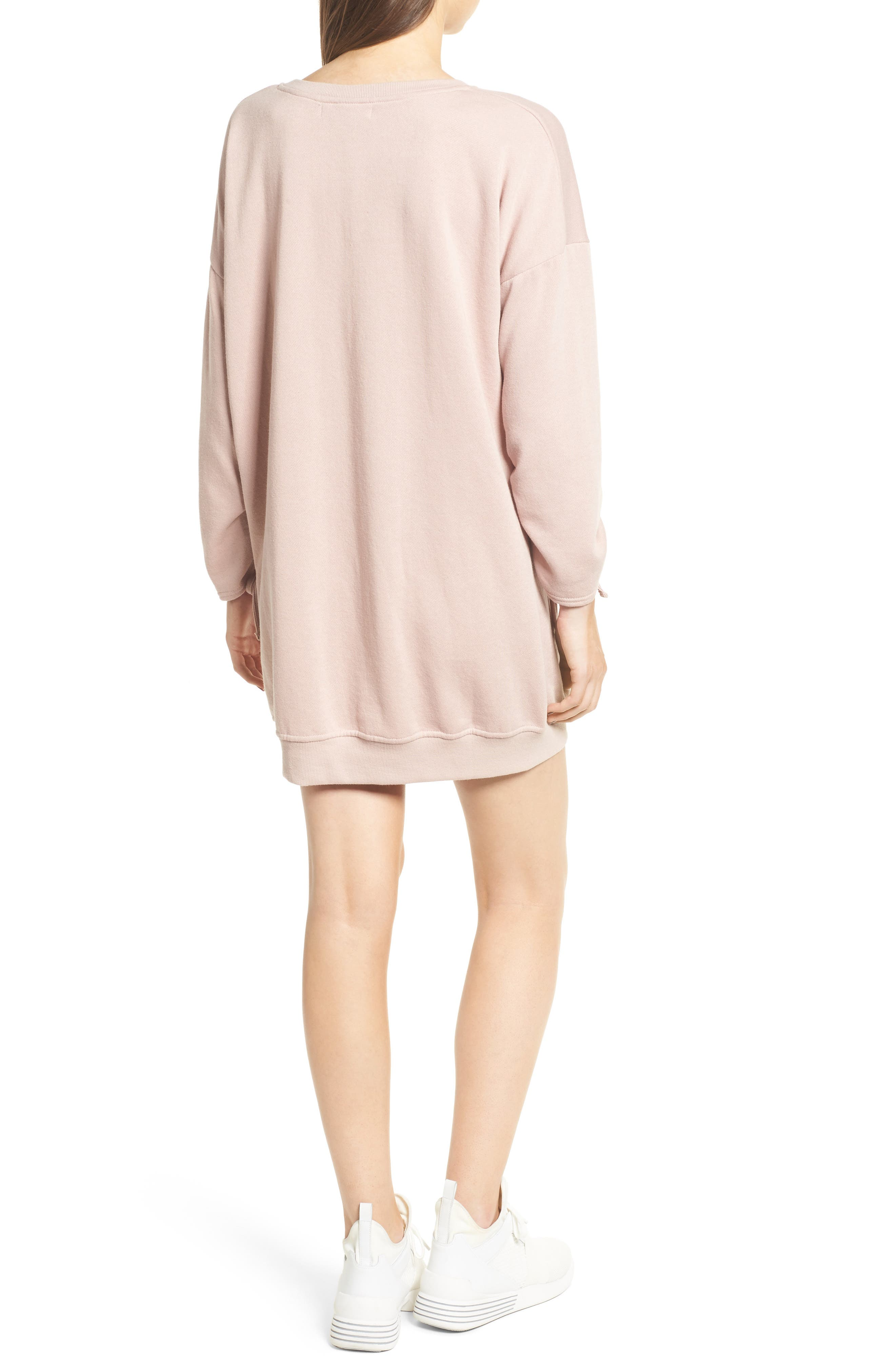 Alternate Image 2  - Cotton Emporium Ruched Sleeve Sweatshirt Dress
