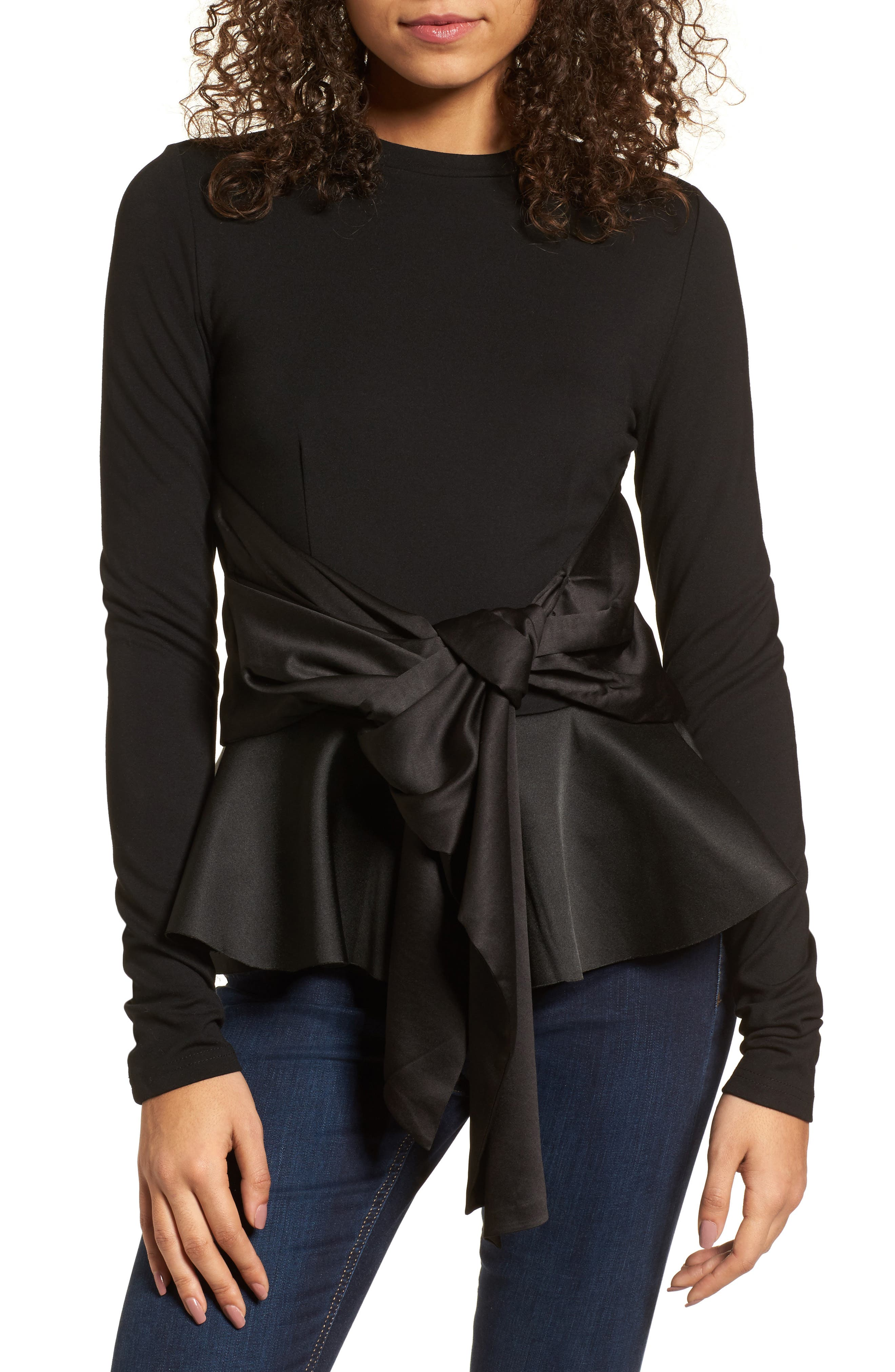Main Image - LOST INK Big Bow Peplum Top