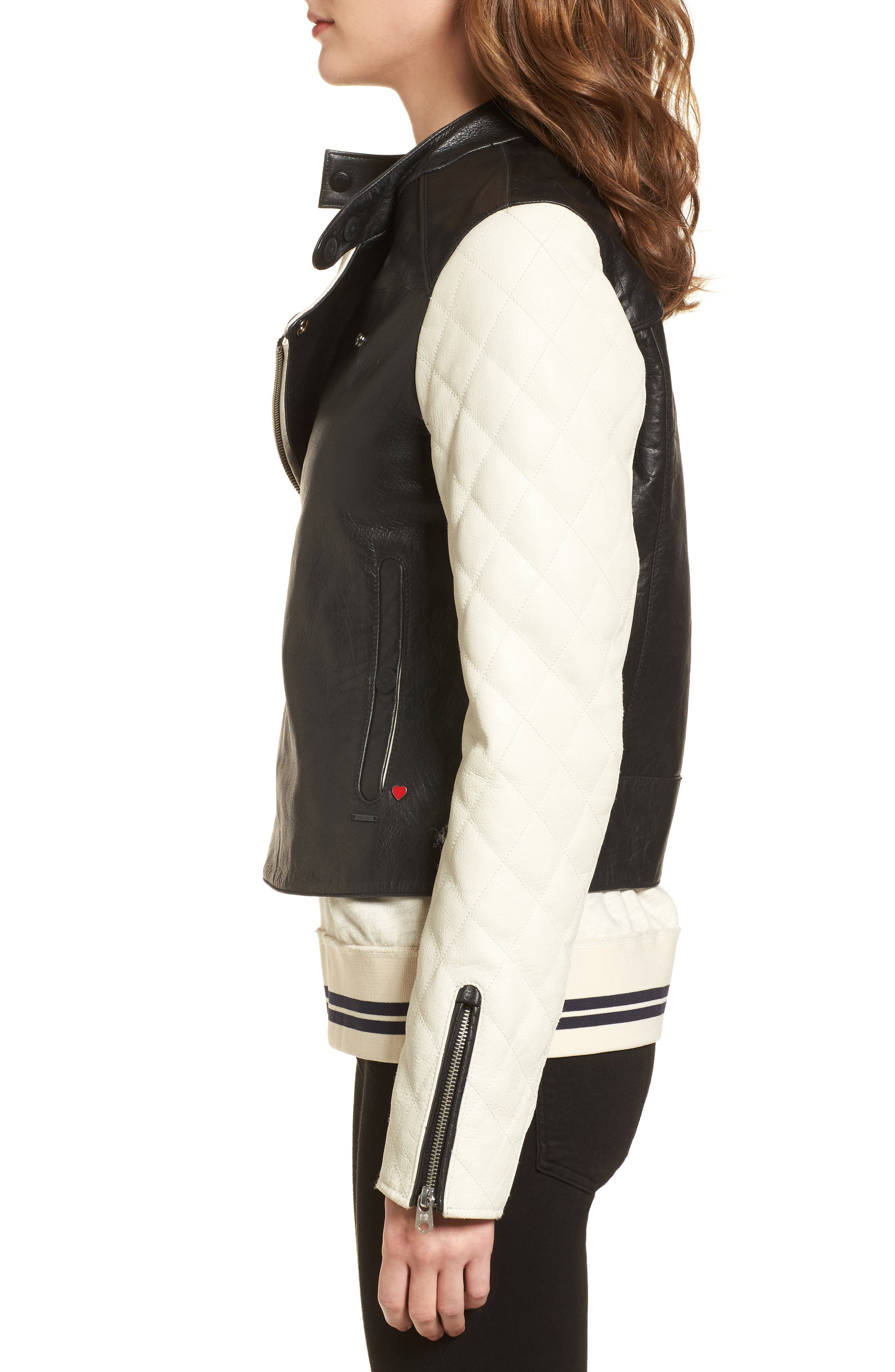 Quilted Sleeve Leather Biker Jacket,                             Alternate thumbnail 3, color,                             Black / Off White