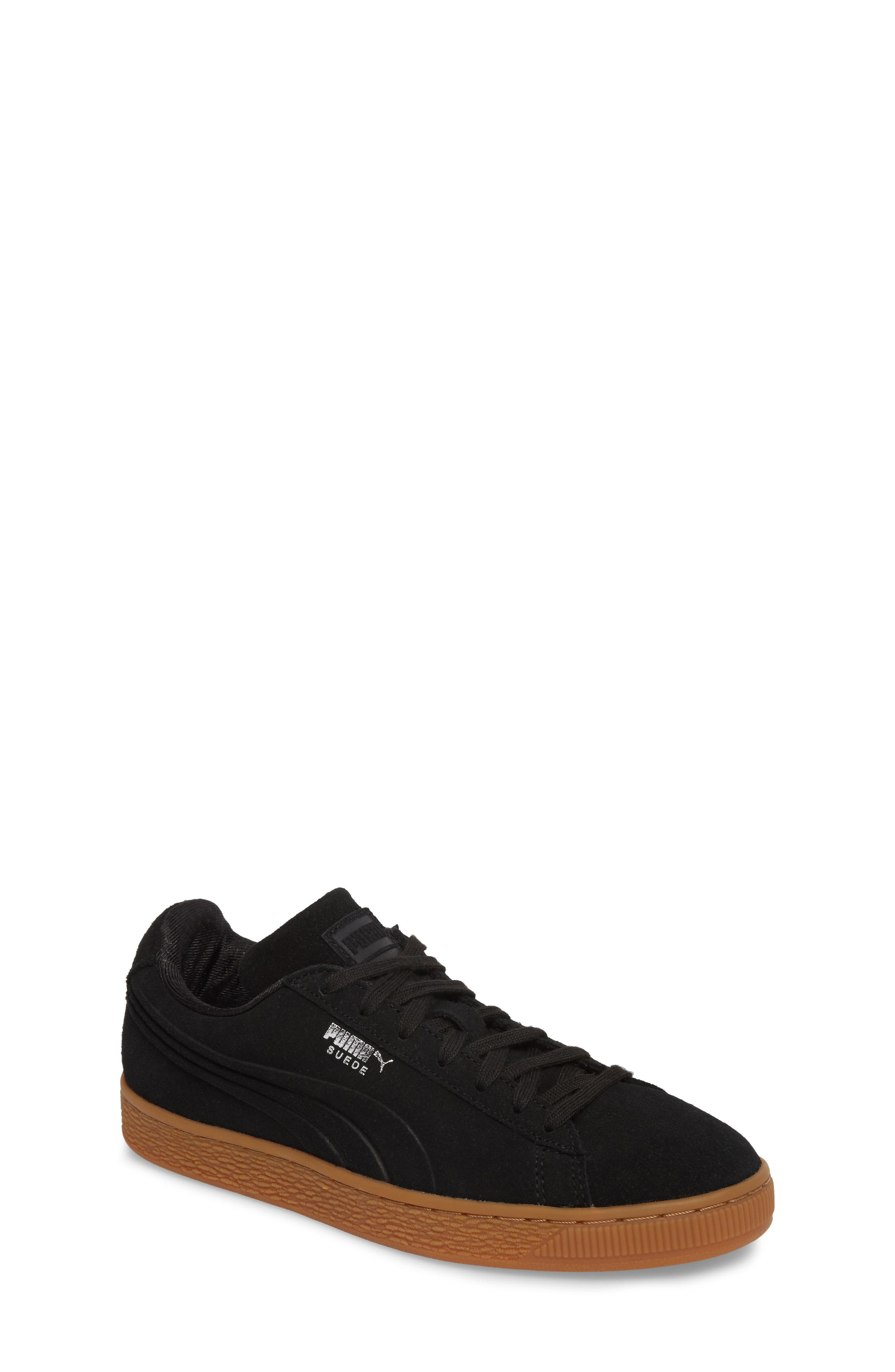 Suede Classic Debossed Jr. Sneaker,                         Main,                         color, Black/ Grey