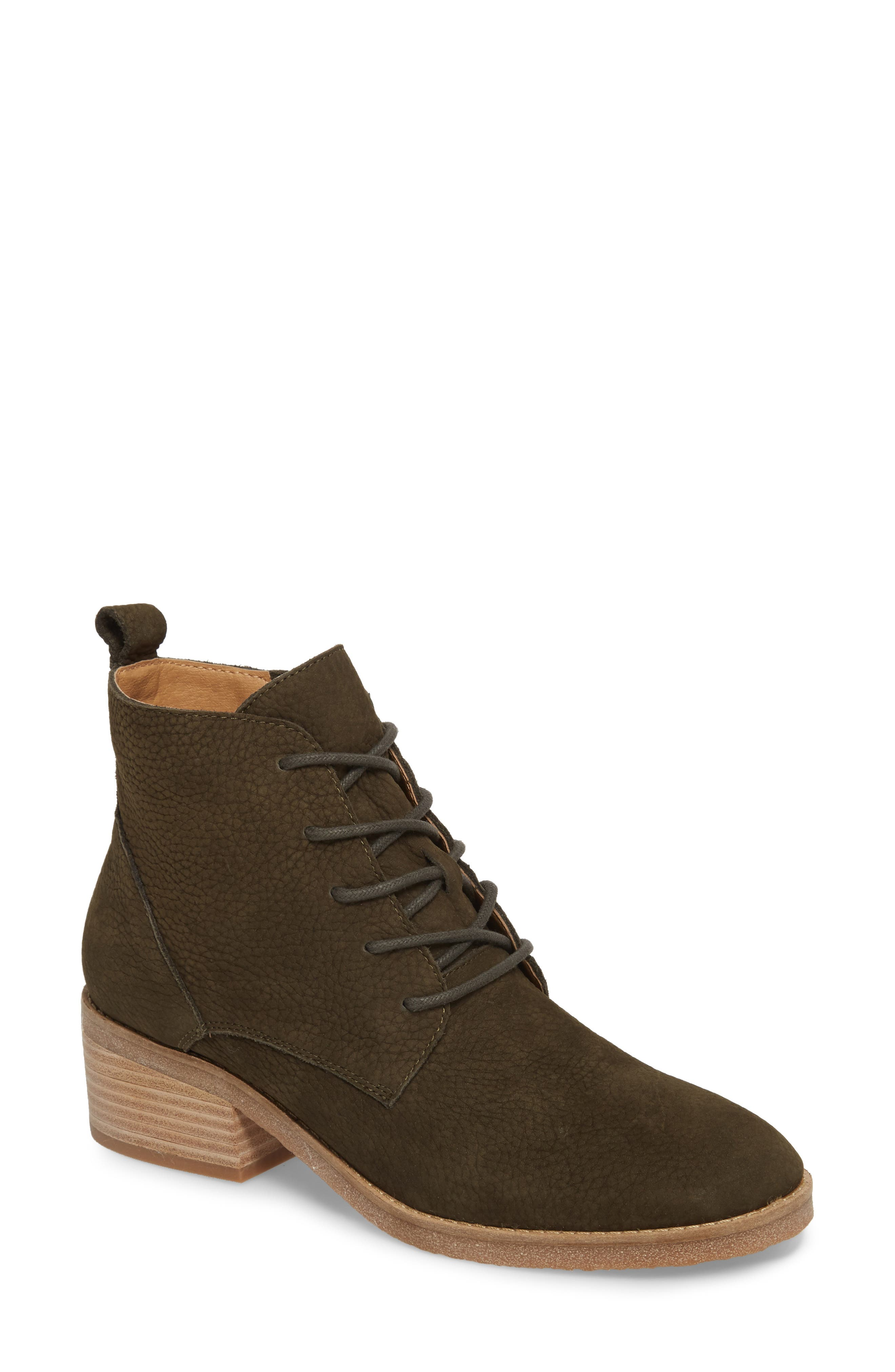 Tamela Lace-Up Bootie,                             Main thumbnail 1, color,                             Dark Moss Nubuck