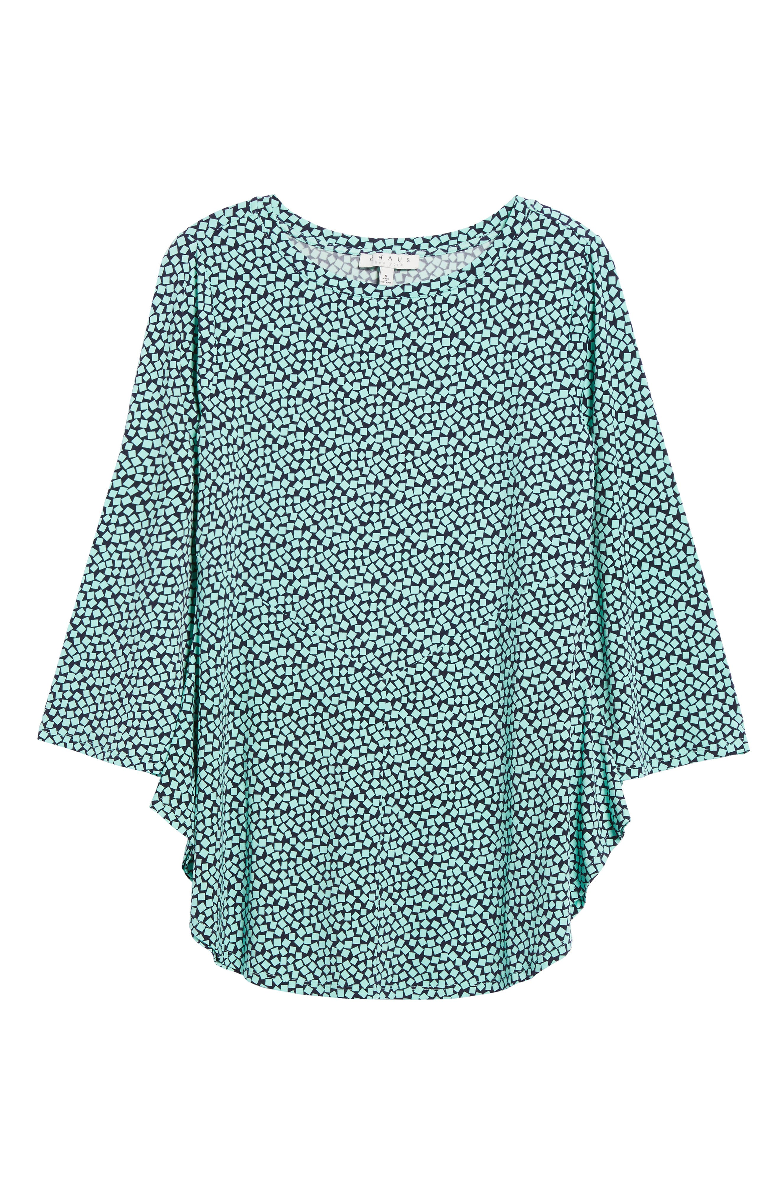 Bell Sleeve Cube Print Top,                             Alternate thumbnail 6, color,                             Sea Glass