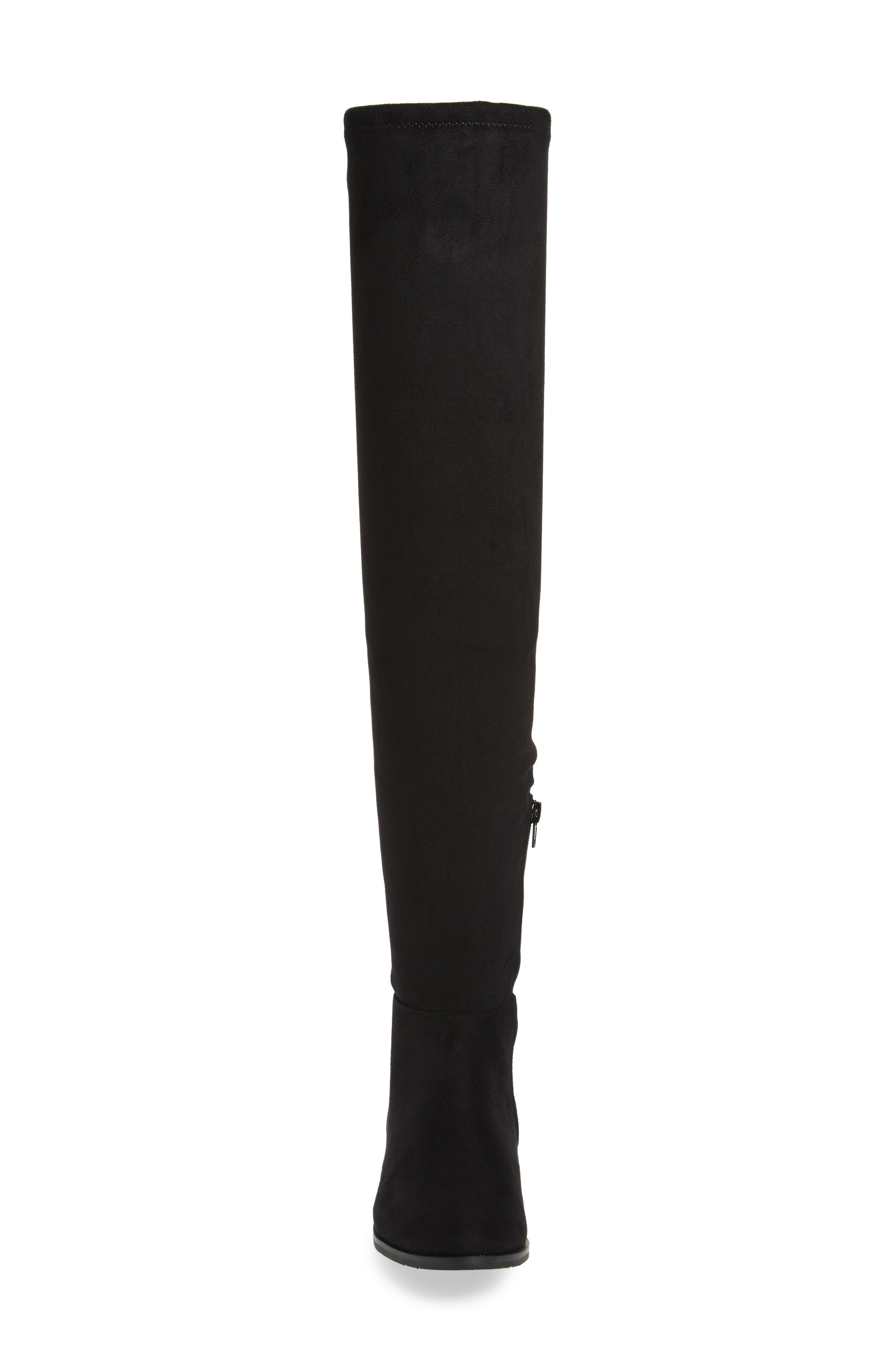 Rashelle Over the Knee Stretch Boot,                             Alternate thumbnail 3, color,                             Black Suede
