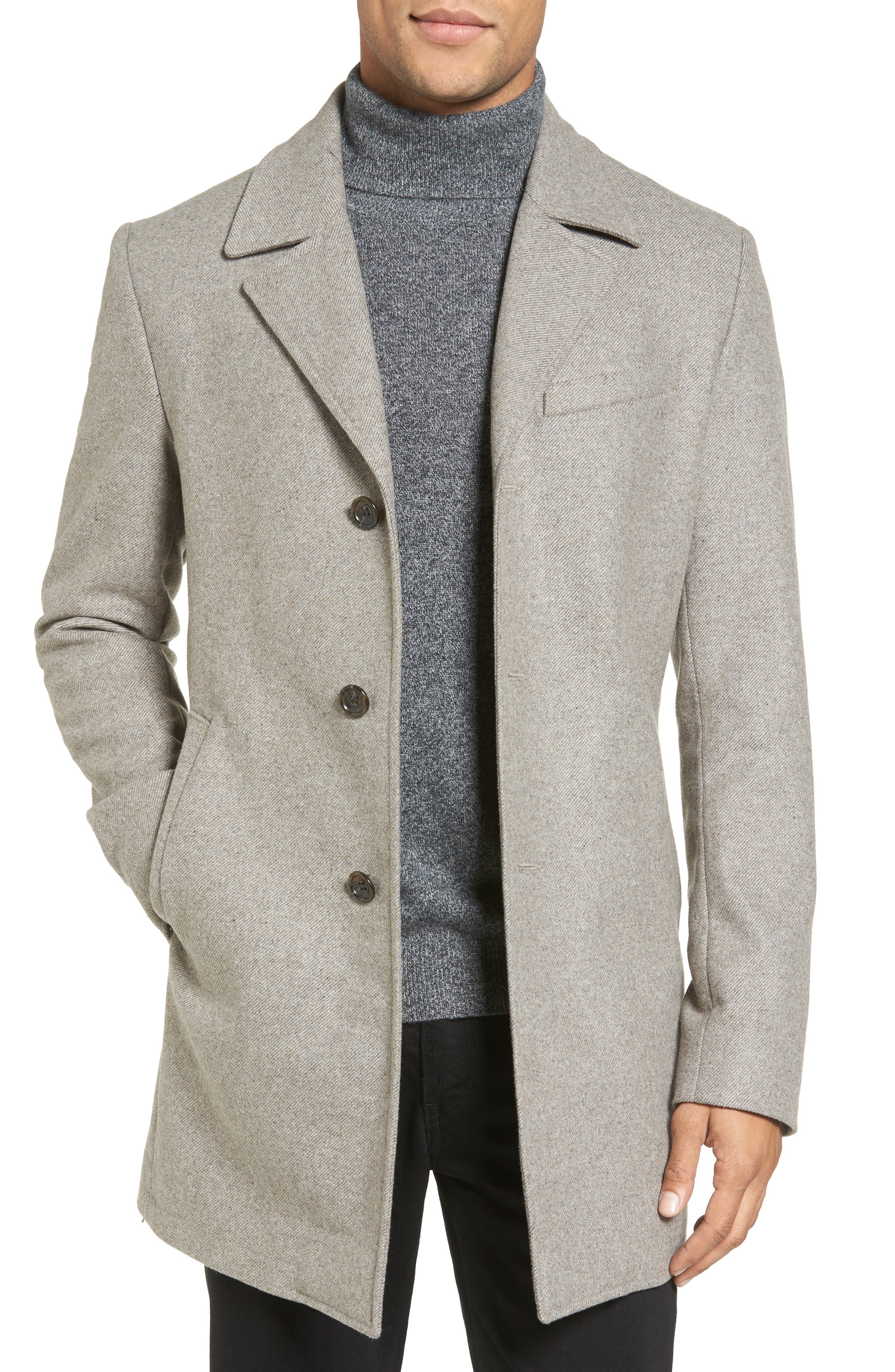 Slim Fit Wool Blend Topcoat,                         Main,                         color, Toast Heather