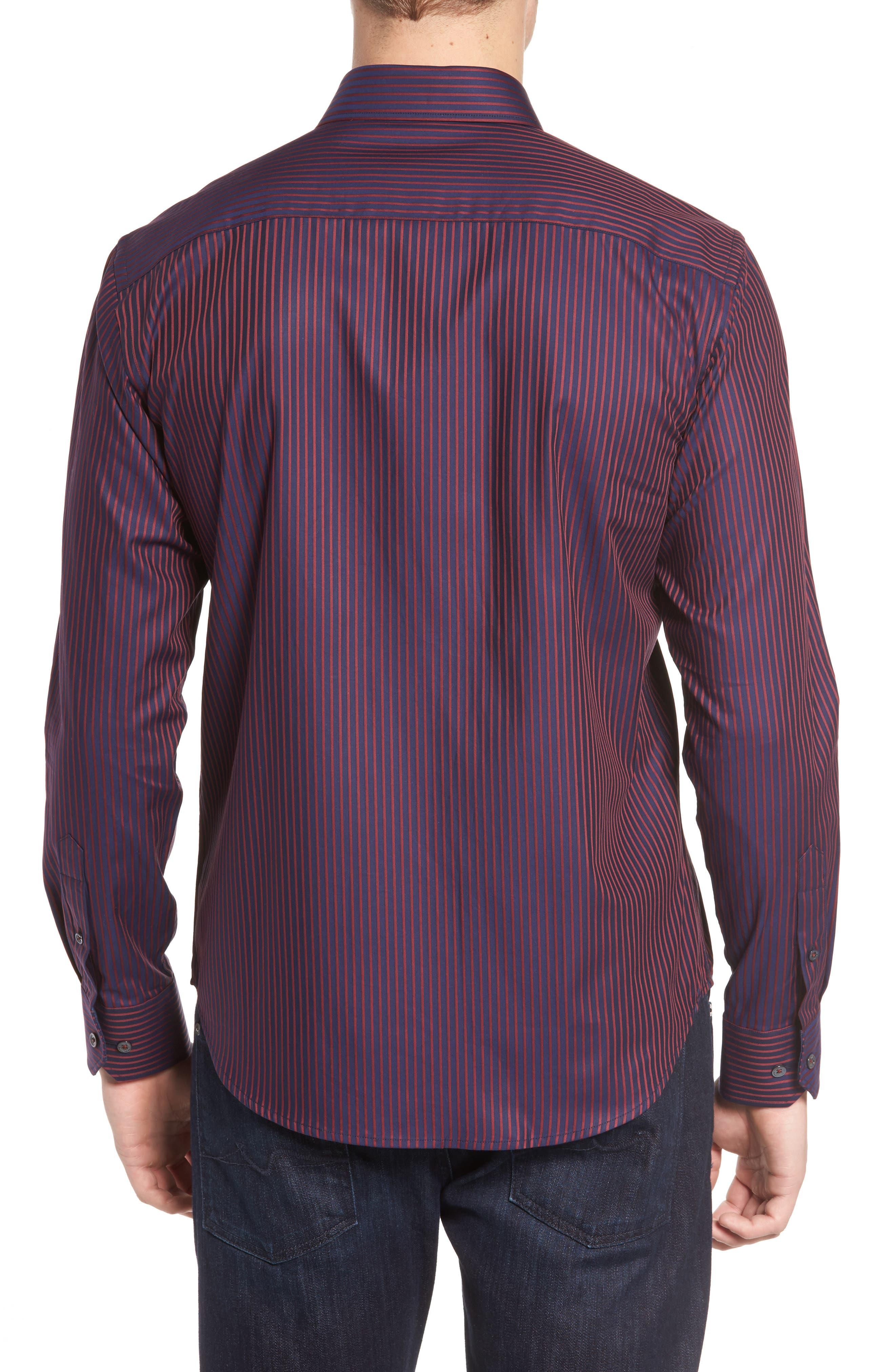 Shaped Fit Stripe Sport Shirt,                             Alternate thumbnail 2, color,                             Wine