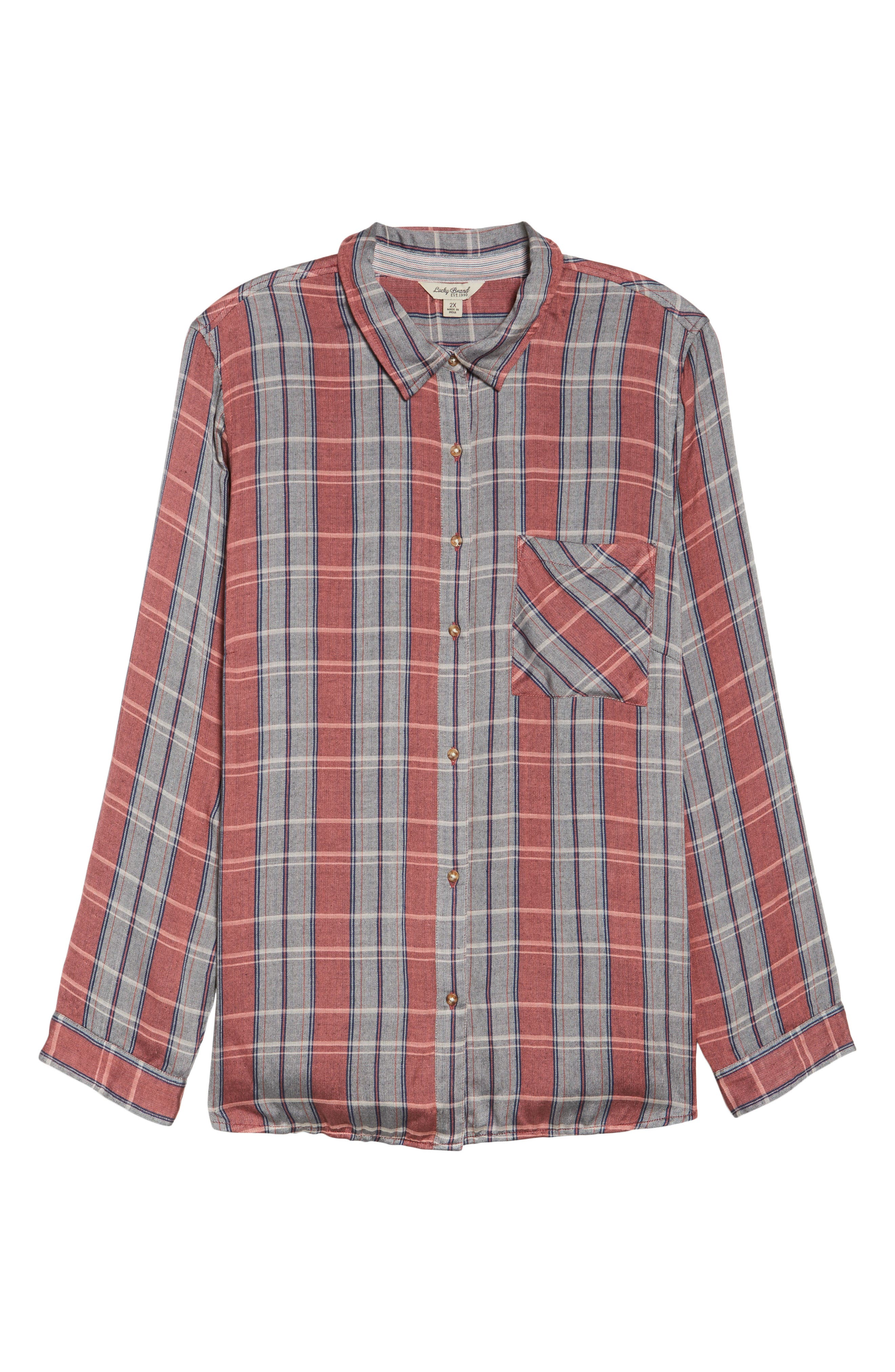 Alternate Image 6  - Lucky Brand Plaid Pocket Shirt (Plus Size)