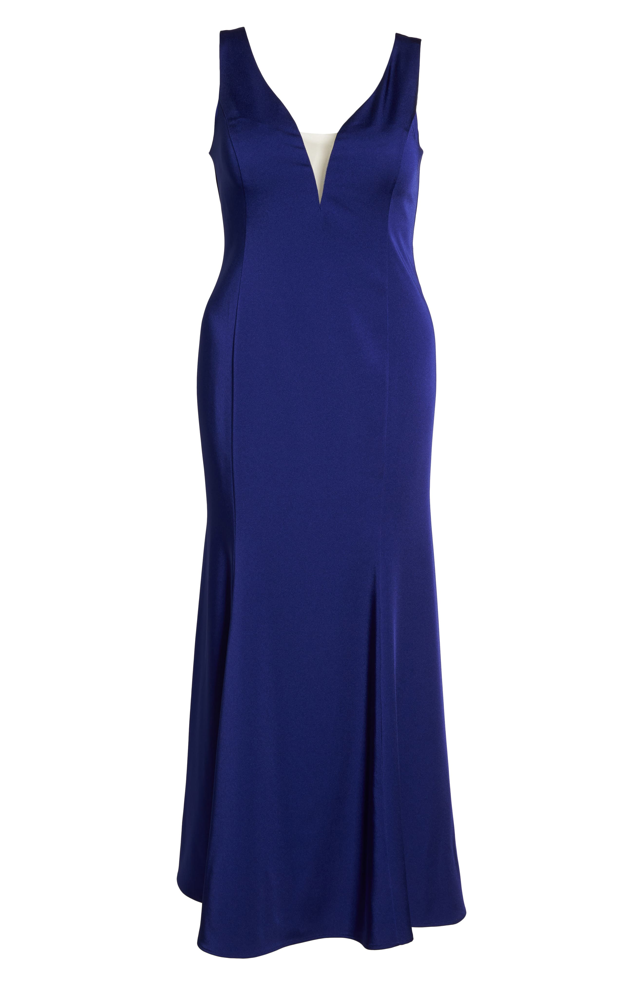 Illusion Neck Mermaid Gown,                             Alternate thumbnail 6, color,                             Cobalt