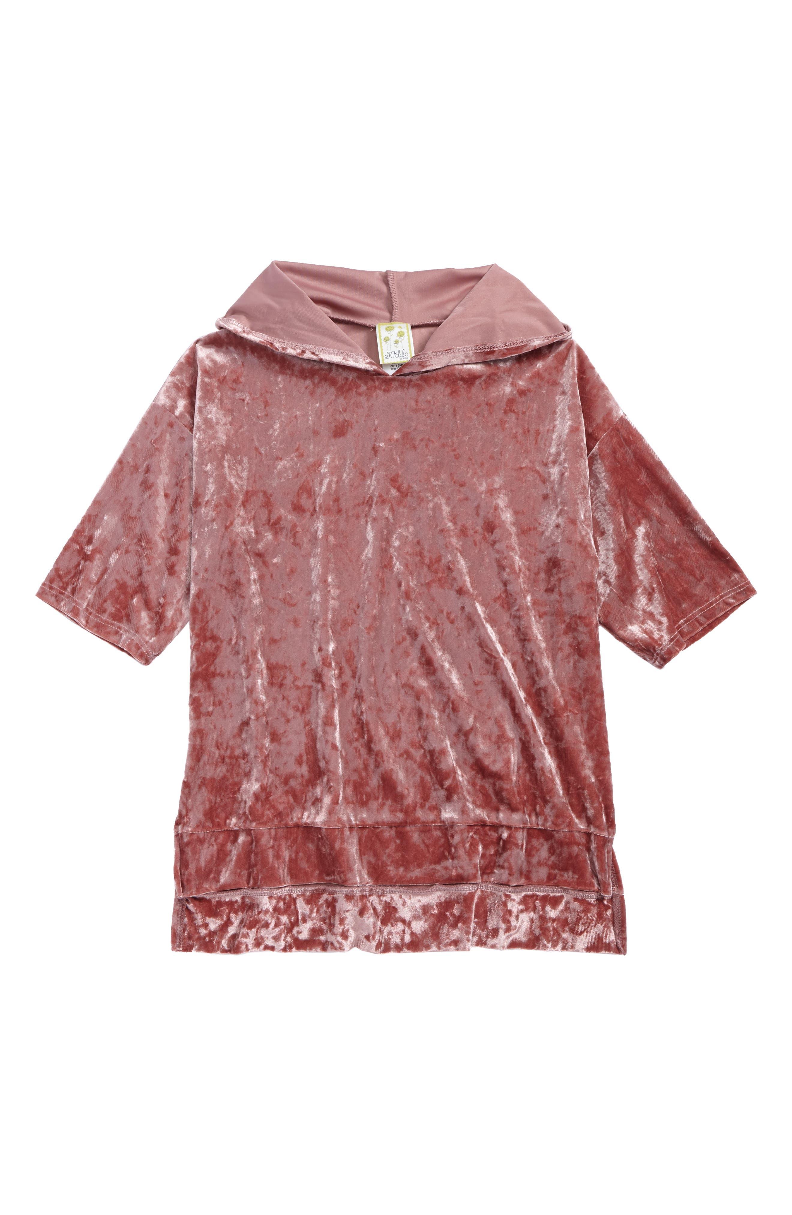 Velvet Pullover Hoodie,                         Main,                         color, Mauve