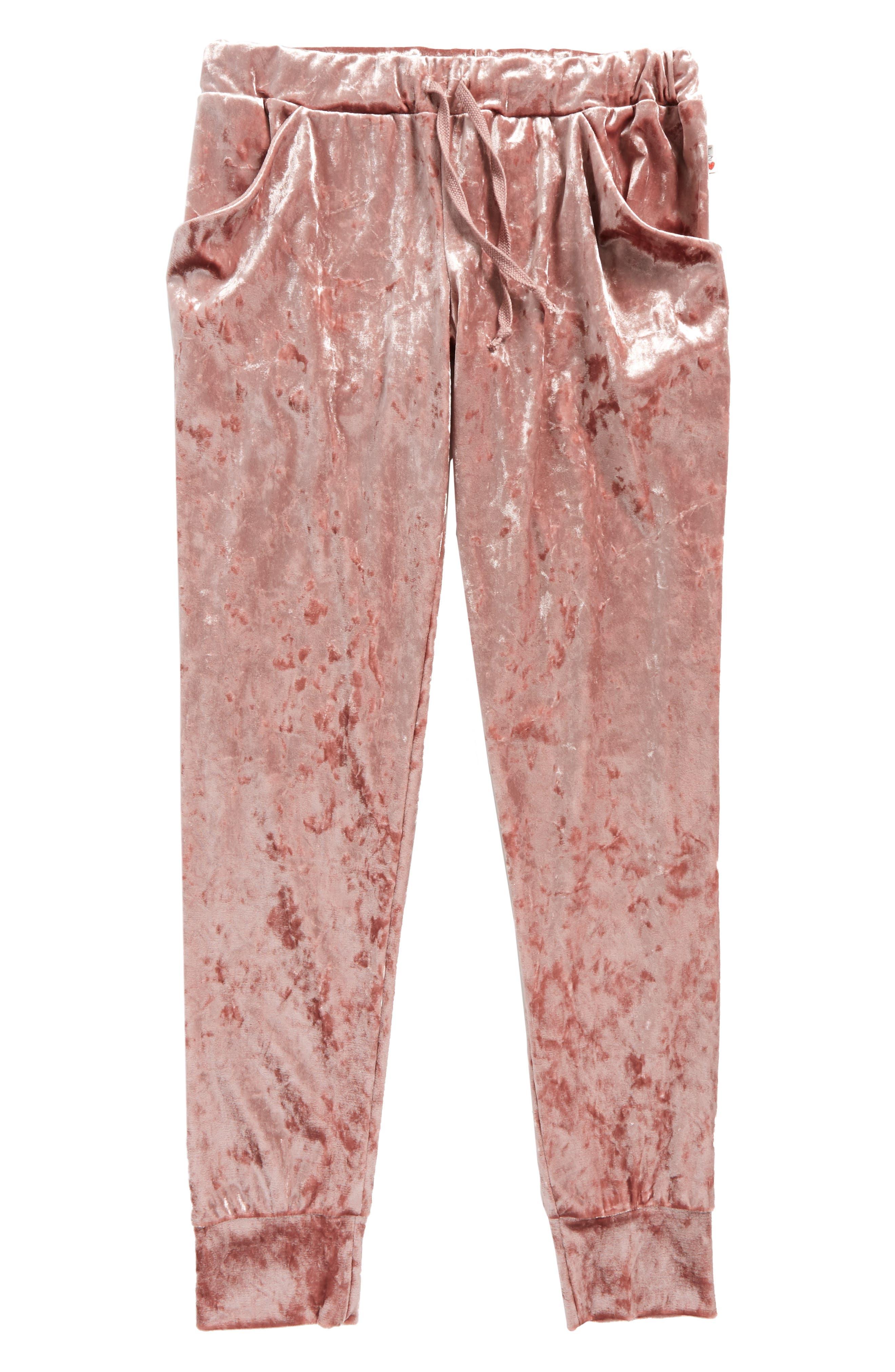 Velour Pants,                         Main,                         color, Winter Rose