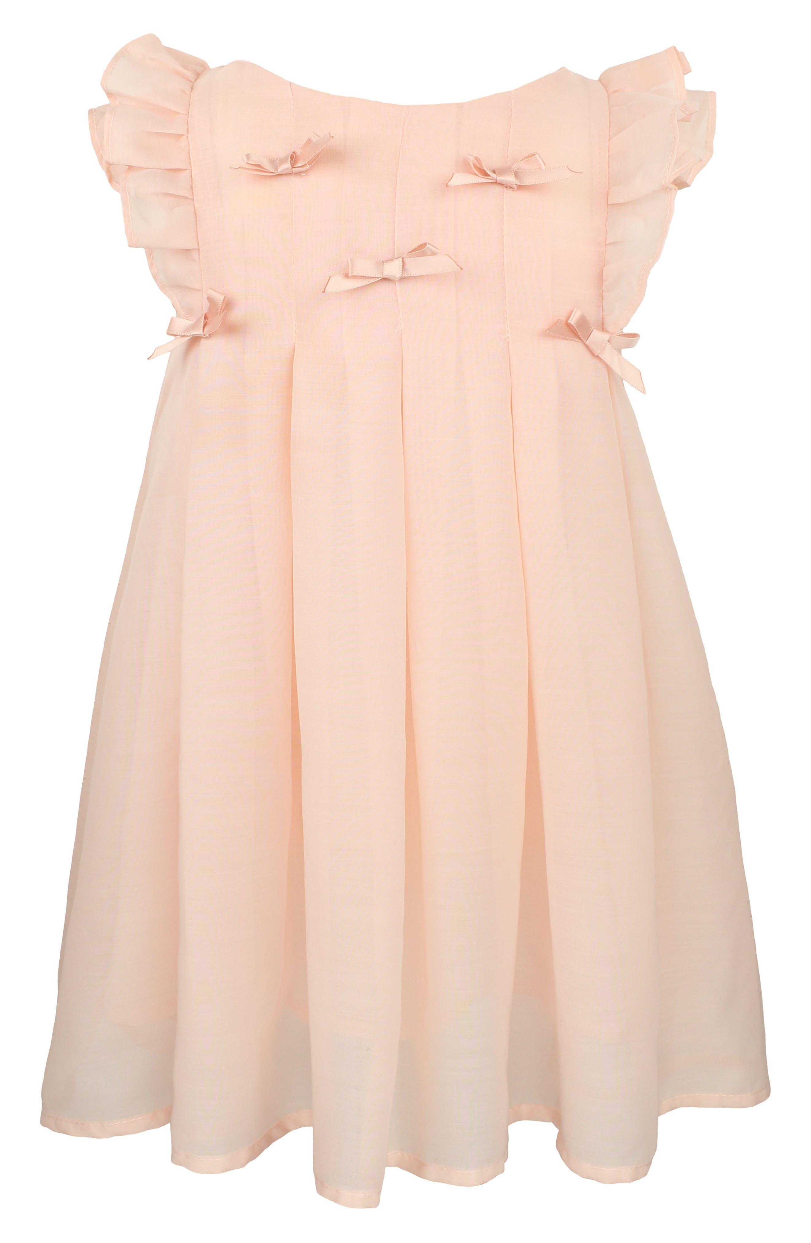 Pintuck Pleat Dress,                             Main thumbnail 1, color,                             Peach