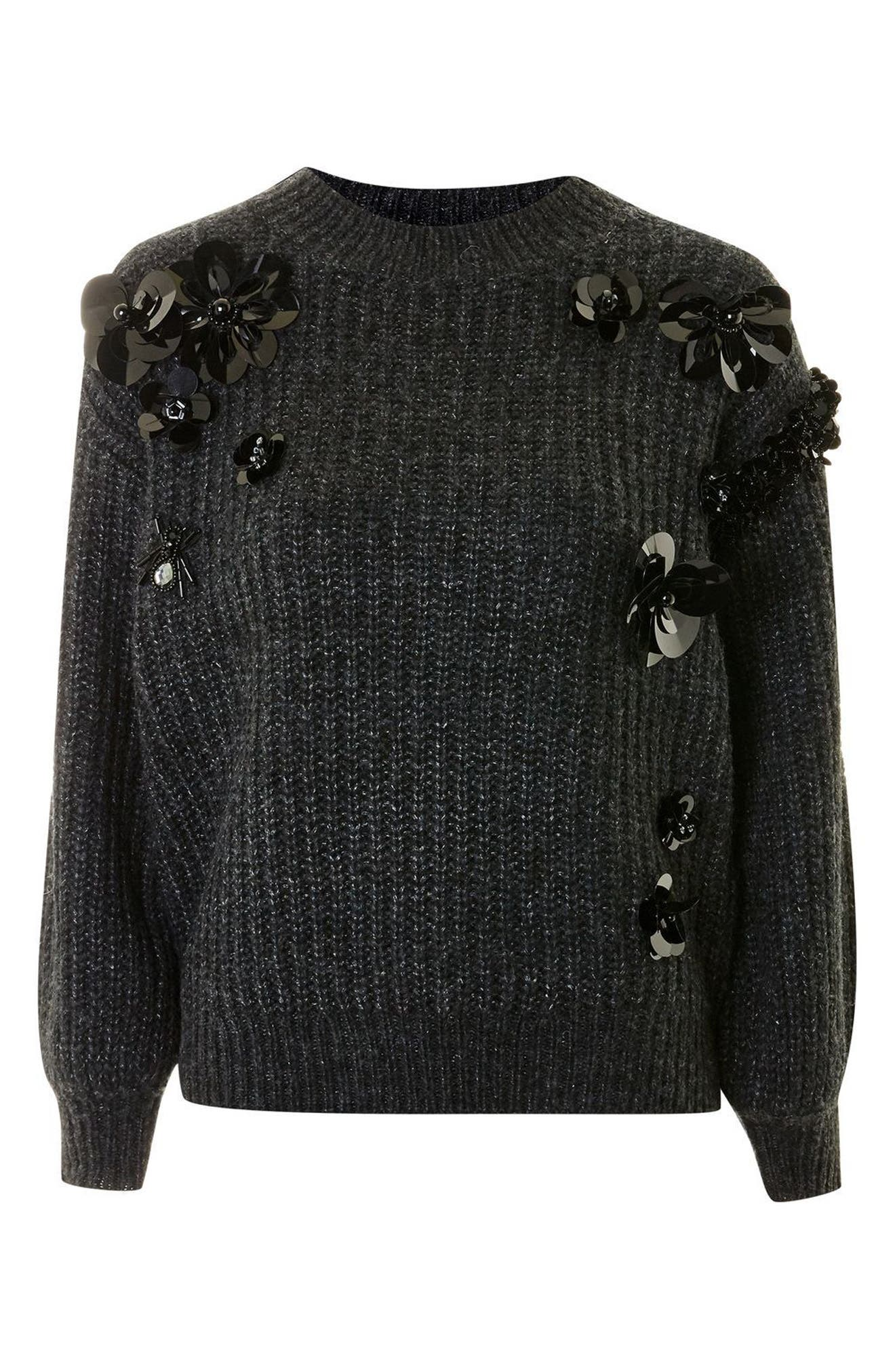 Cluster Embellished Sweater,                             Alternate thumbnail 4, color,                             Charcoal