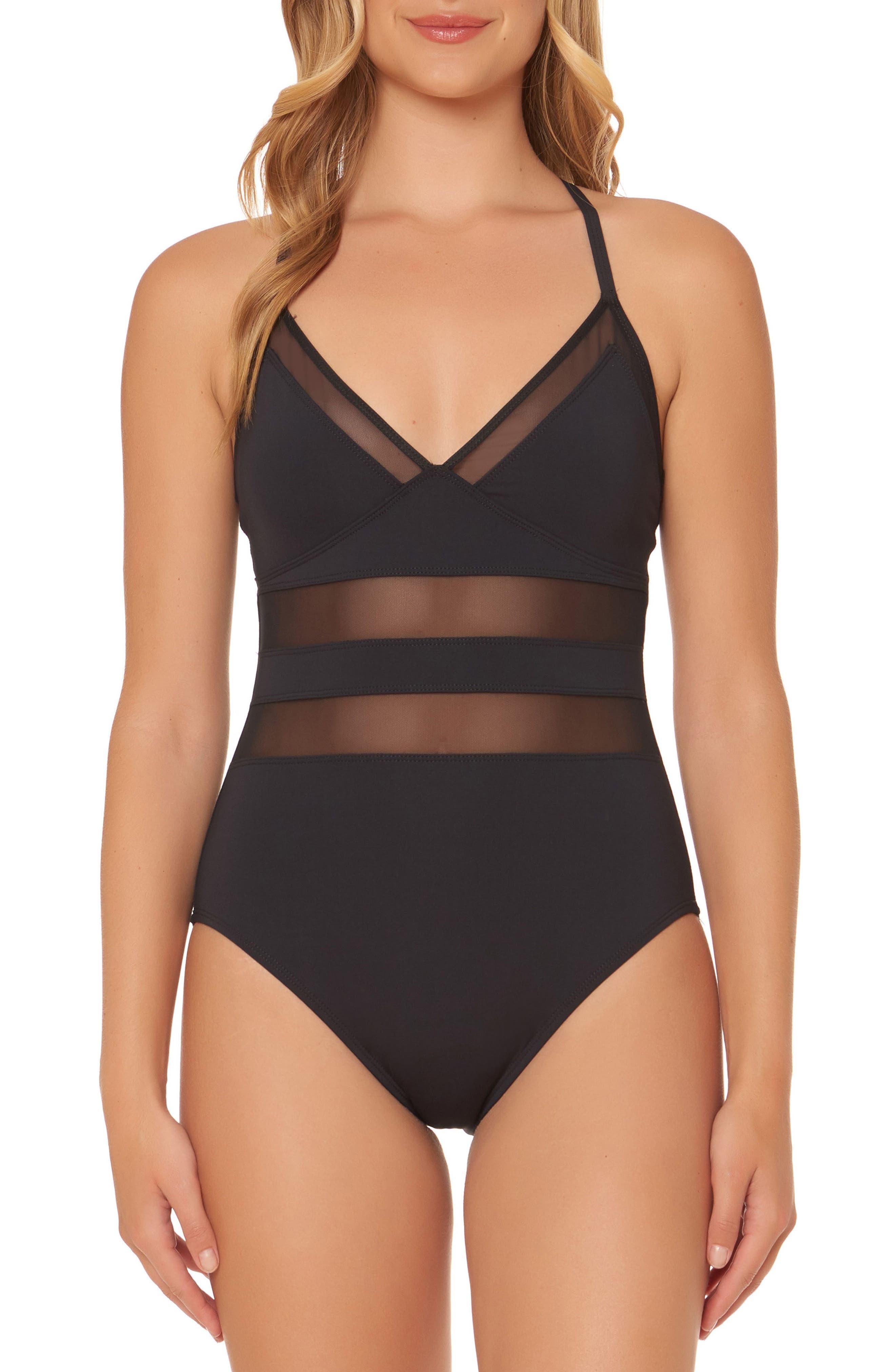 BLEU by Rod Beattie Mesh Inset One-Piece Swimsuit,                             Main thumbnail 1, color,                             Black