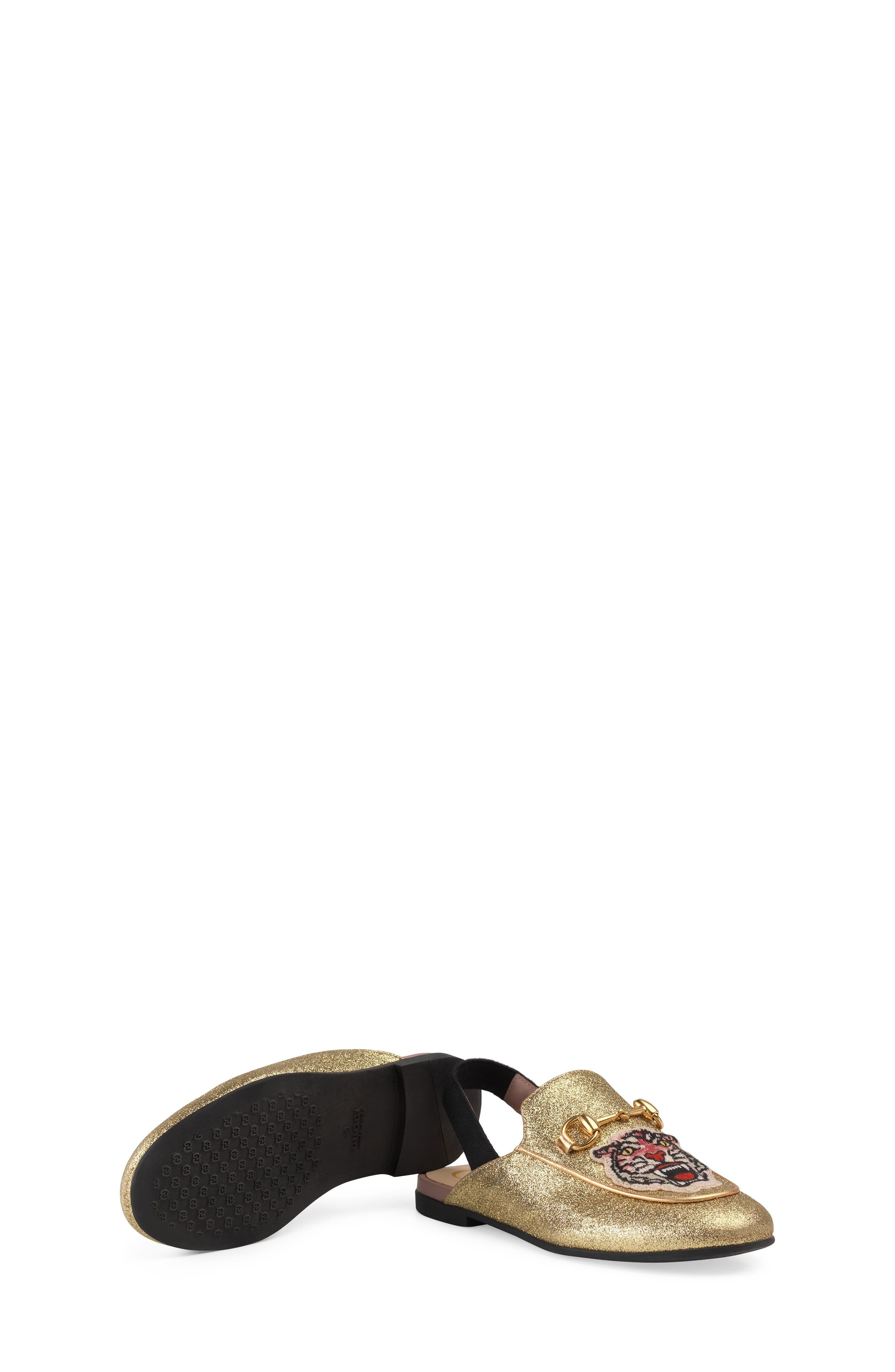 Princetown Glittery Loafer Mule,                             Alternate thumbnail 5, color,                             Gold/ Black