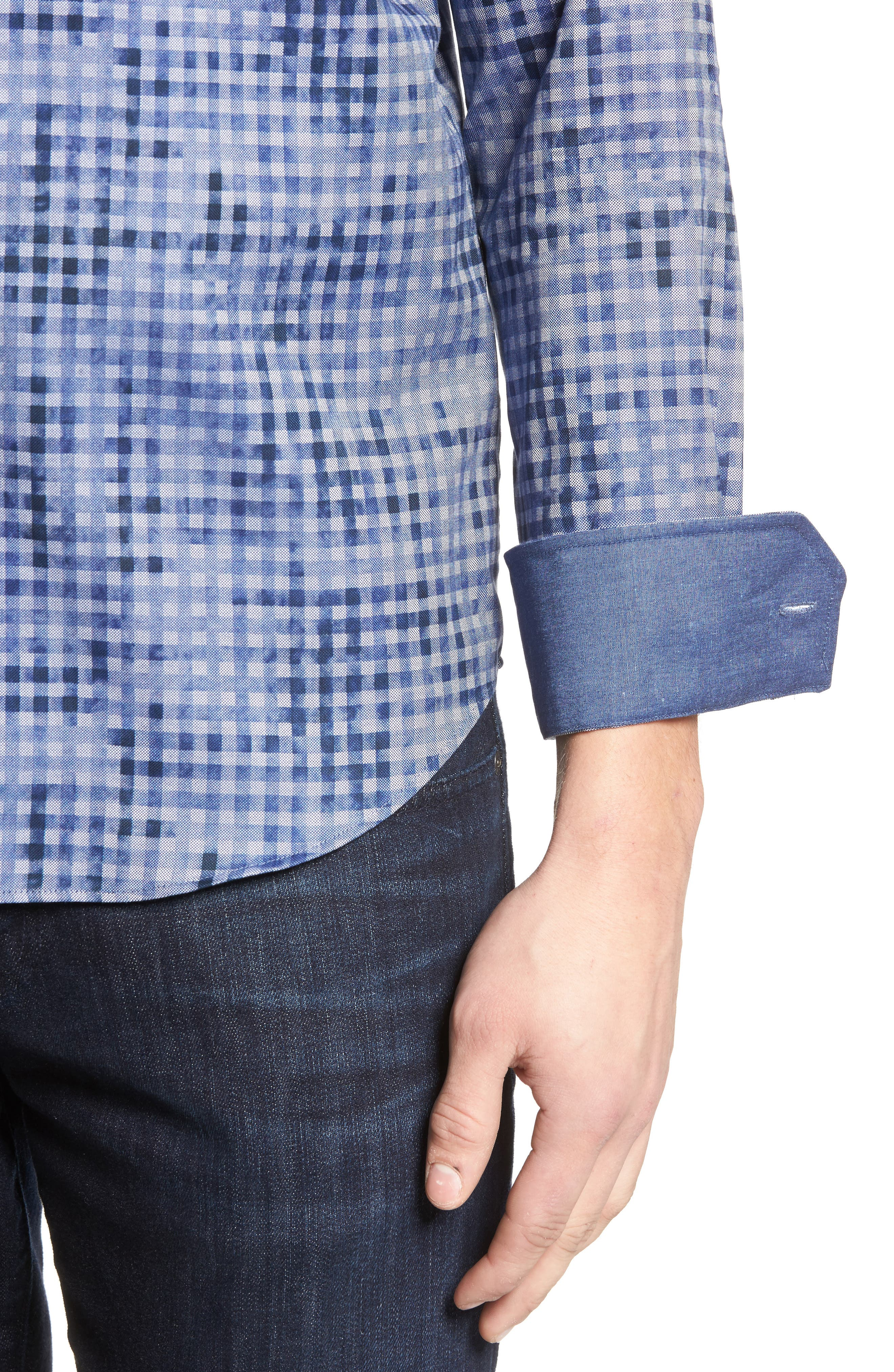 Shaped Fit Optic Print Sport Shirt,                             Alternate thumbnail 4, color,                             Navy