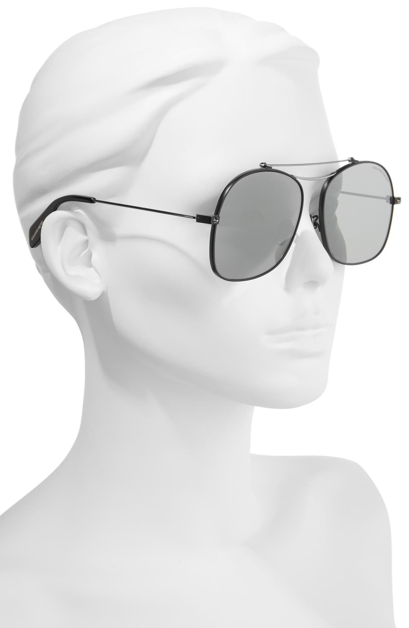 59mm Aviator Sunglasses,                             Alternate thumbnail 2, color,                             Black