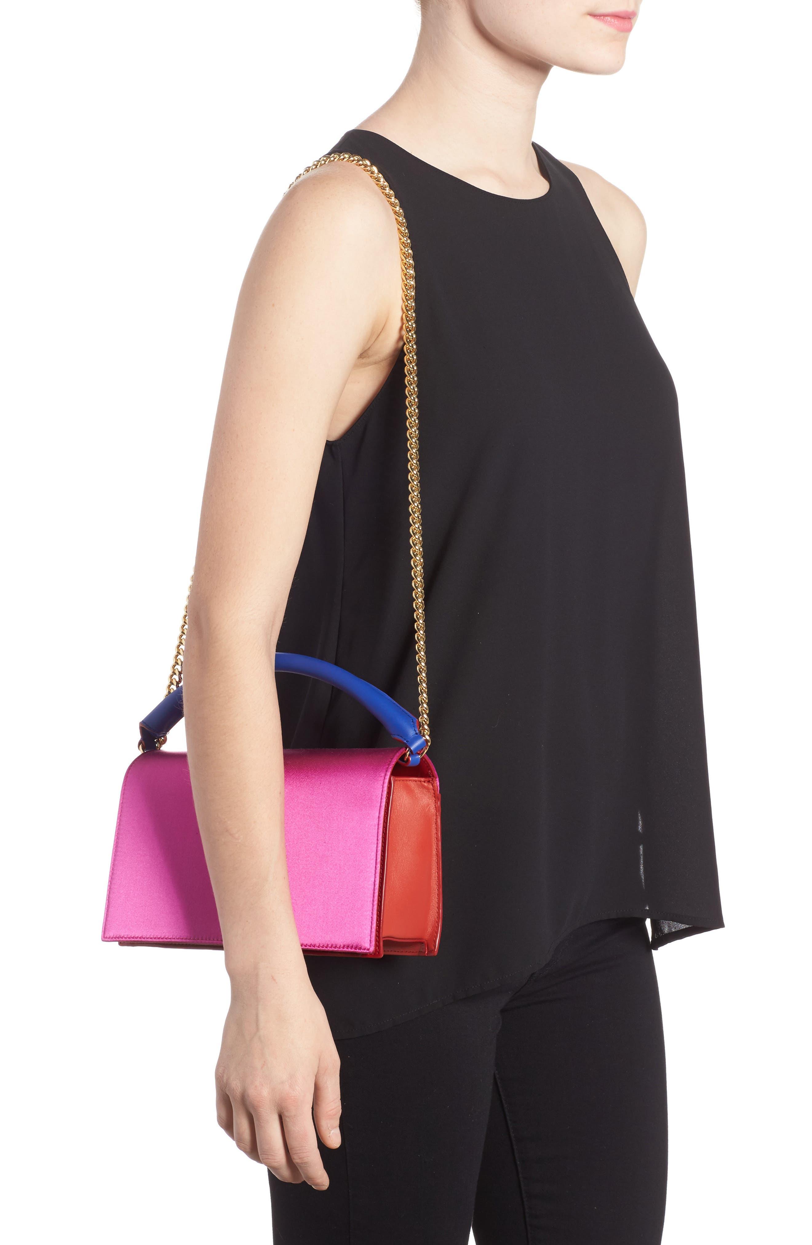 Soirée Satin & Leather Top Handle Bag,                             Alternate thumbnail 2, color,                             Pink