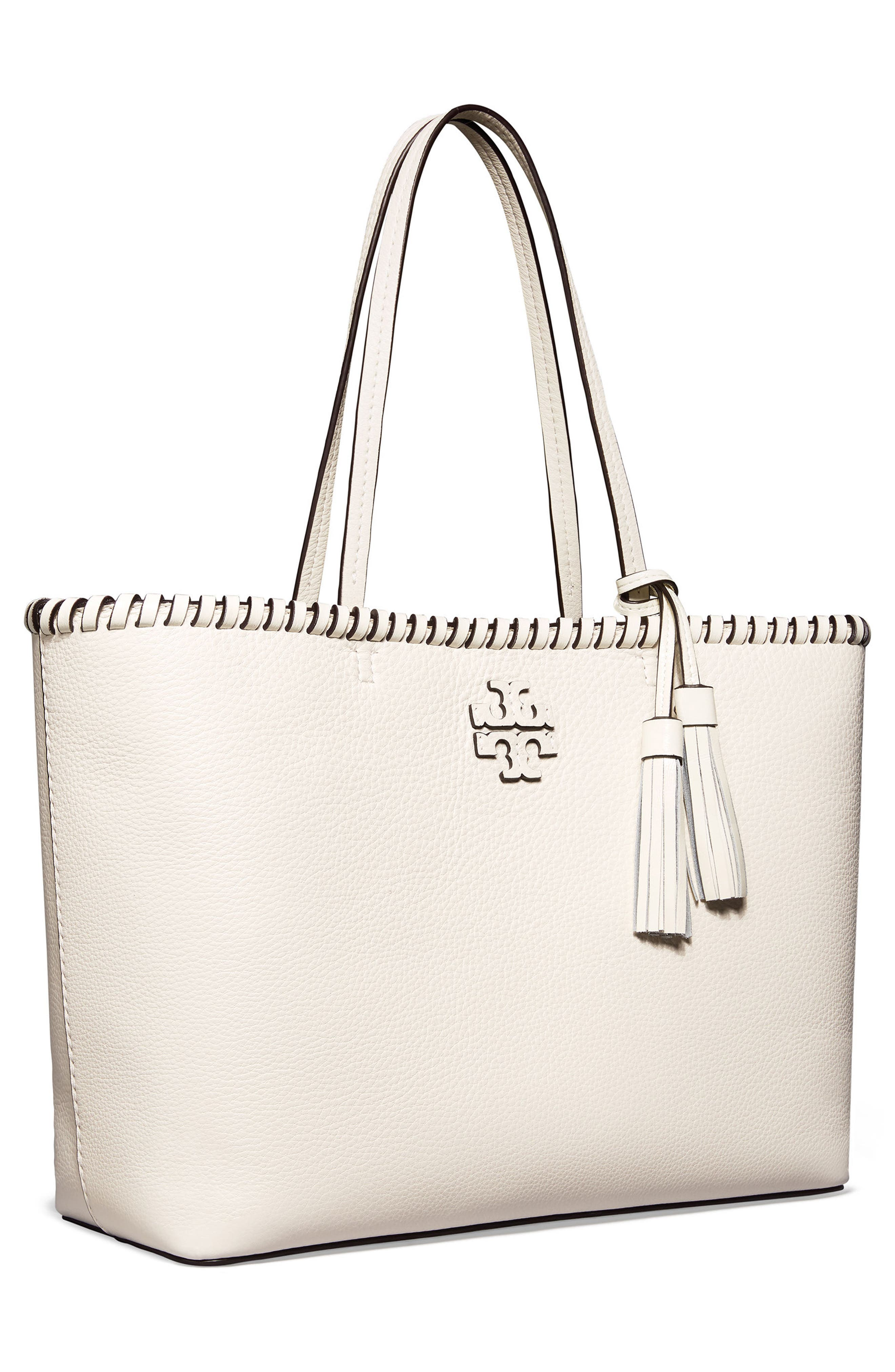 McGraw Whipstitch Leather Tote,                             Alternate thumbnail 2, color,                             New Ivory