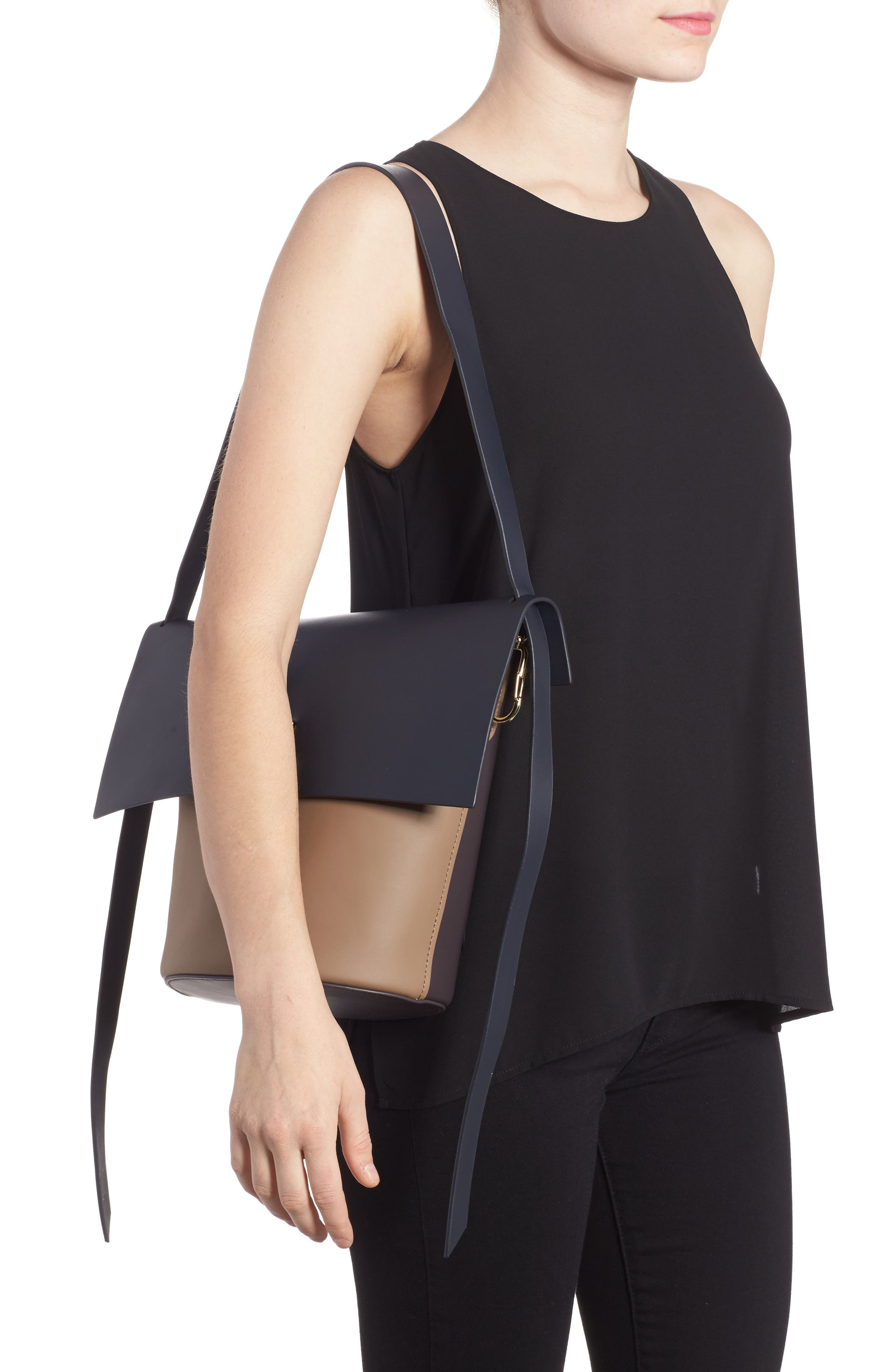 Belay Colorblock Calfskin Leather Bucket Bag,                             Alternate thumbnail 2, color,                             Navy Color Block