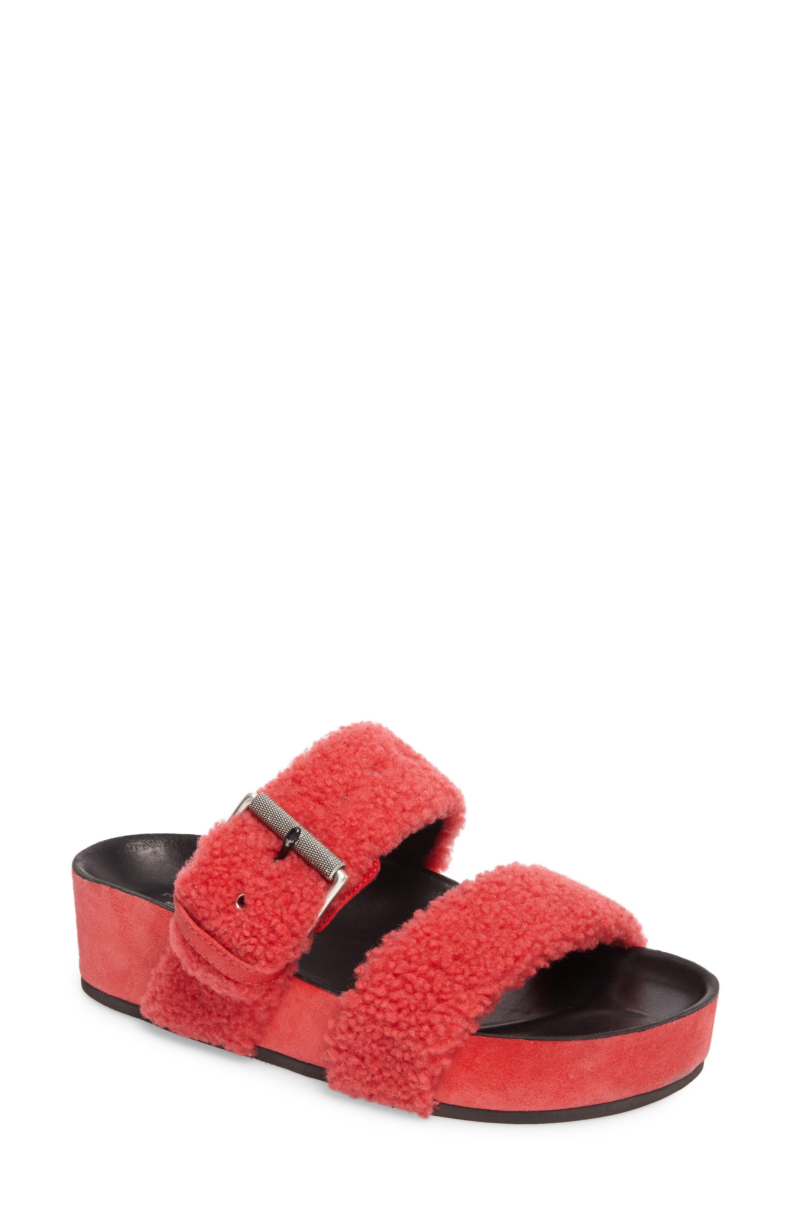 Evin Genuine Shearling Slide Sandal,                             Main thumbnail 1, color,                             Berry