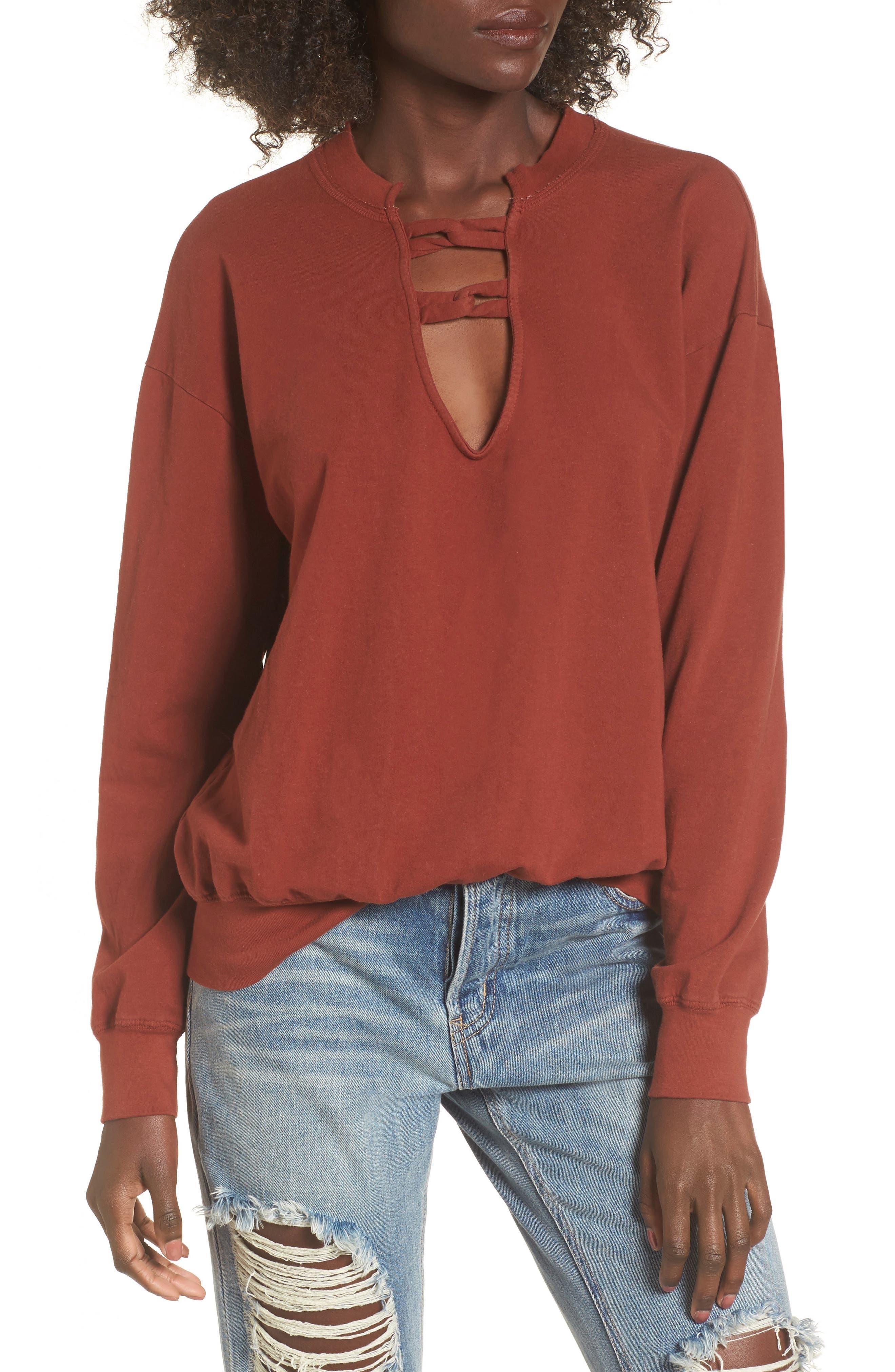 Infinity Knot Sweatshirt,                             Main thumbnail 1, color,                             Marsala