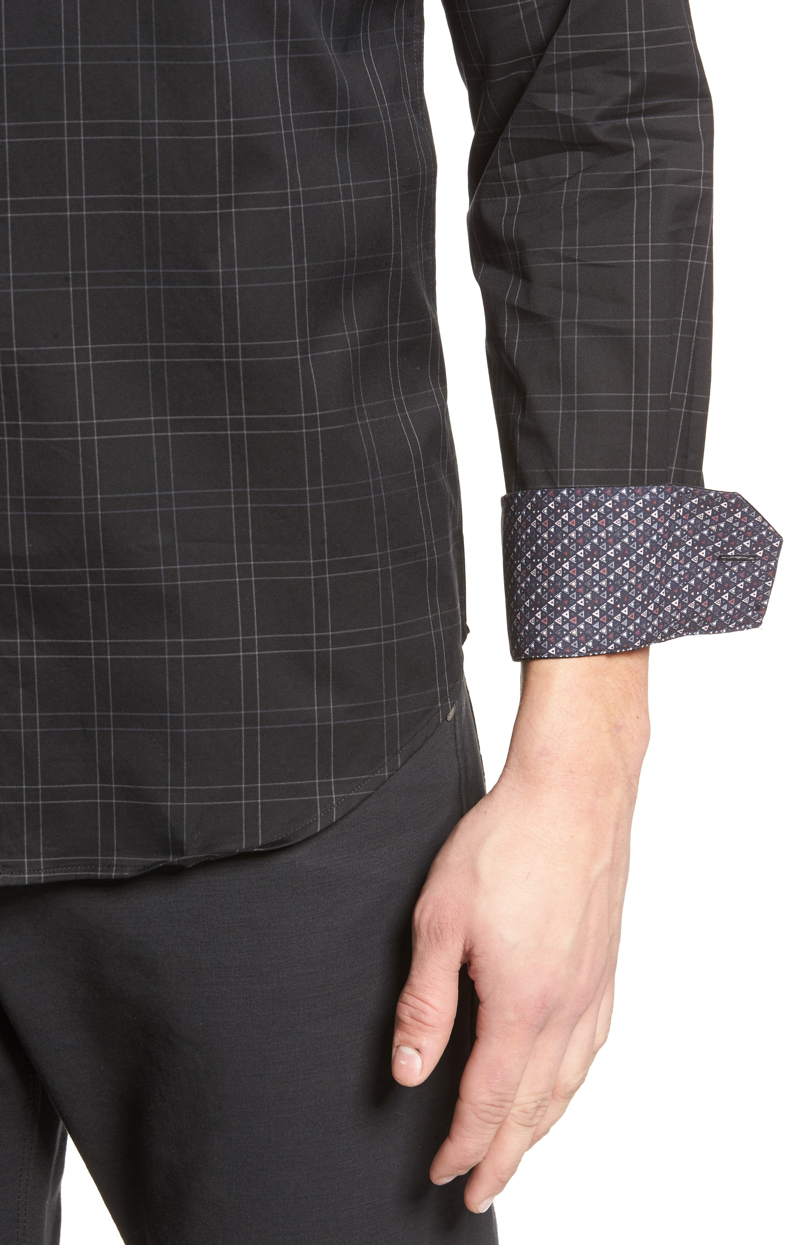 Shaped Fit Plaid Sport Shirt,                             Alternate thumbnail 4, color,                             Black