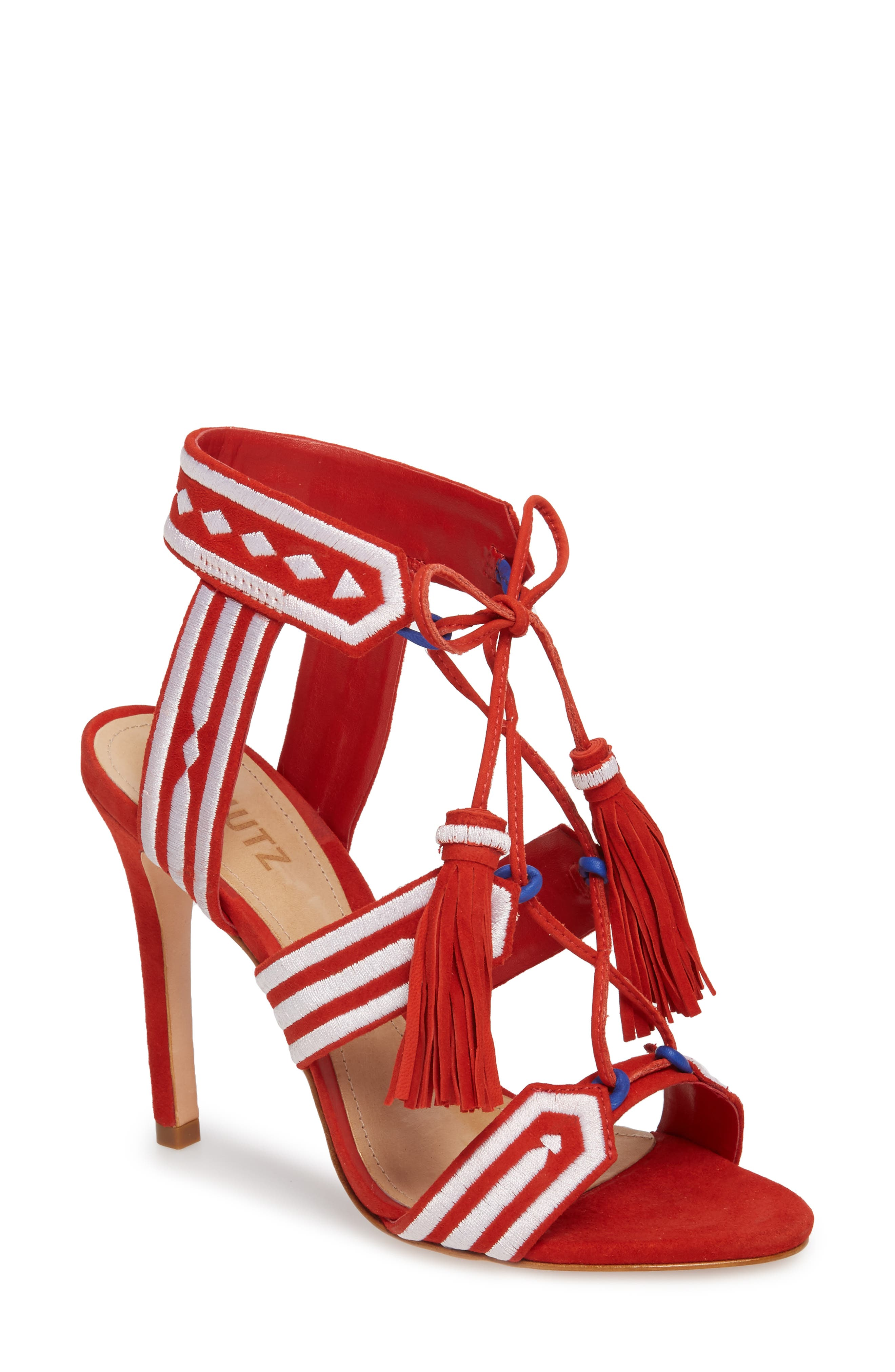 Eurica Embroidered Tassel Sandal,                             Main thumbnail 1, color,                             Nice Orange Suede