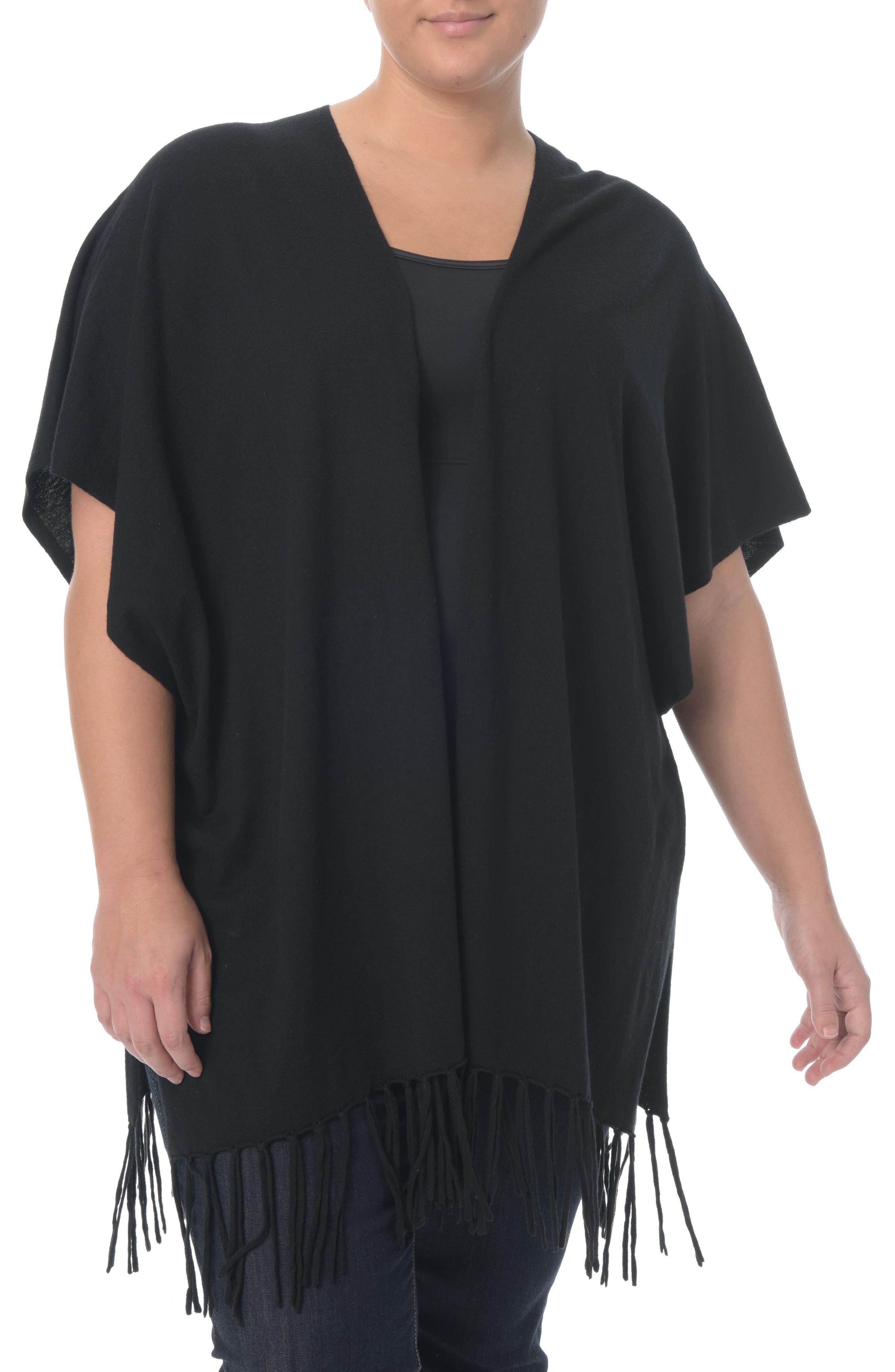 Fringe Sweater Wrap,                         Main,                         color, Black