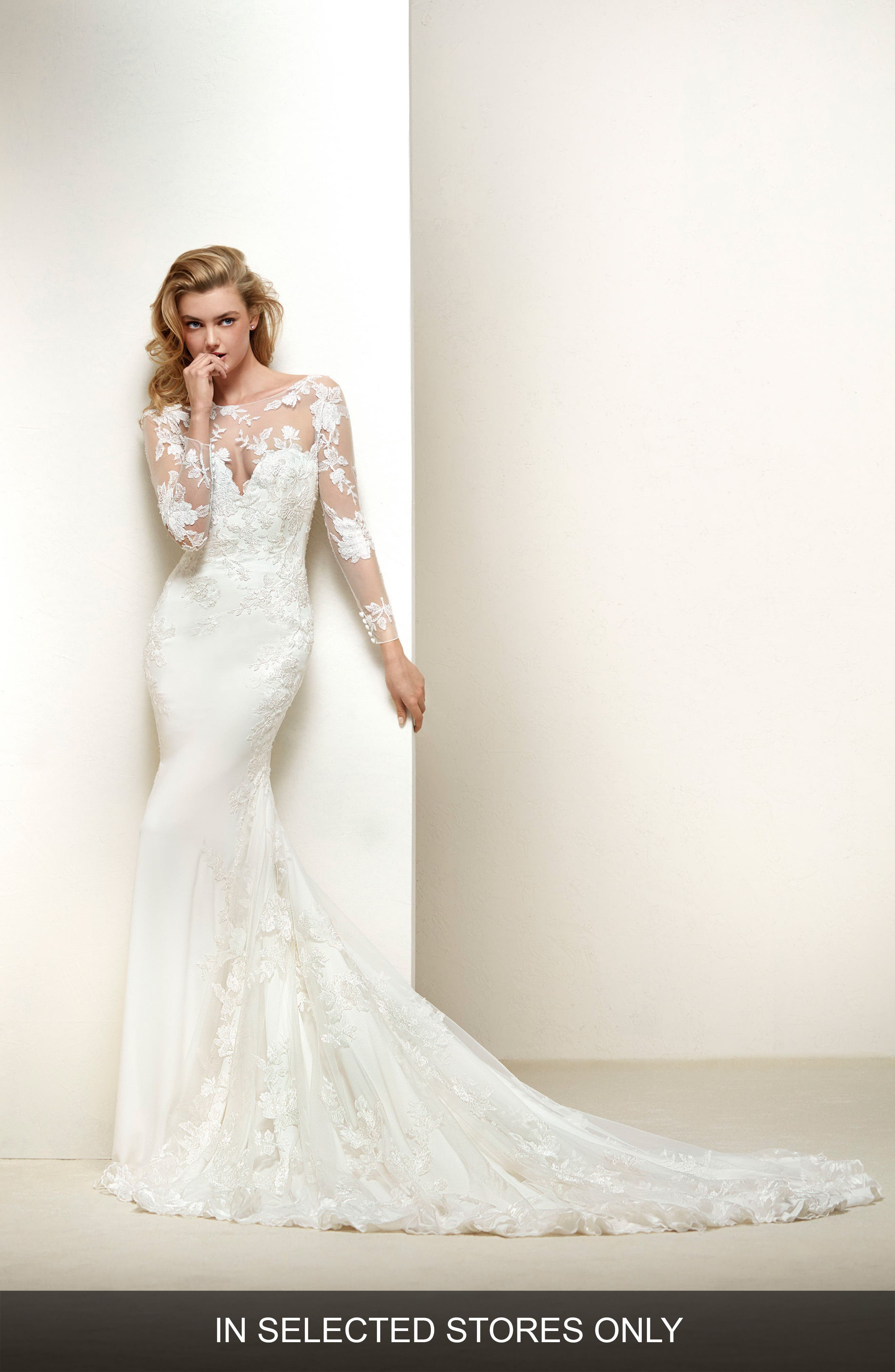 Drakar Embroidered Illusion Crepe & Tulle Mermaid Gown,                             Main thumbnail 1, color,                             Off White