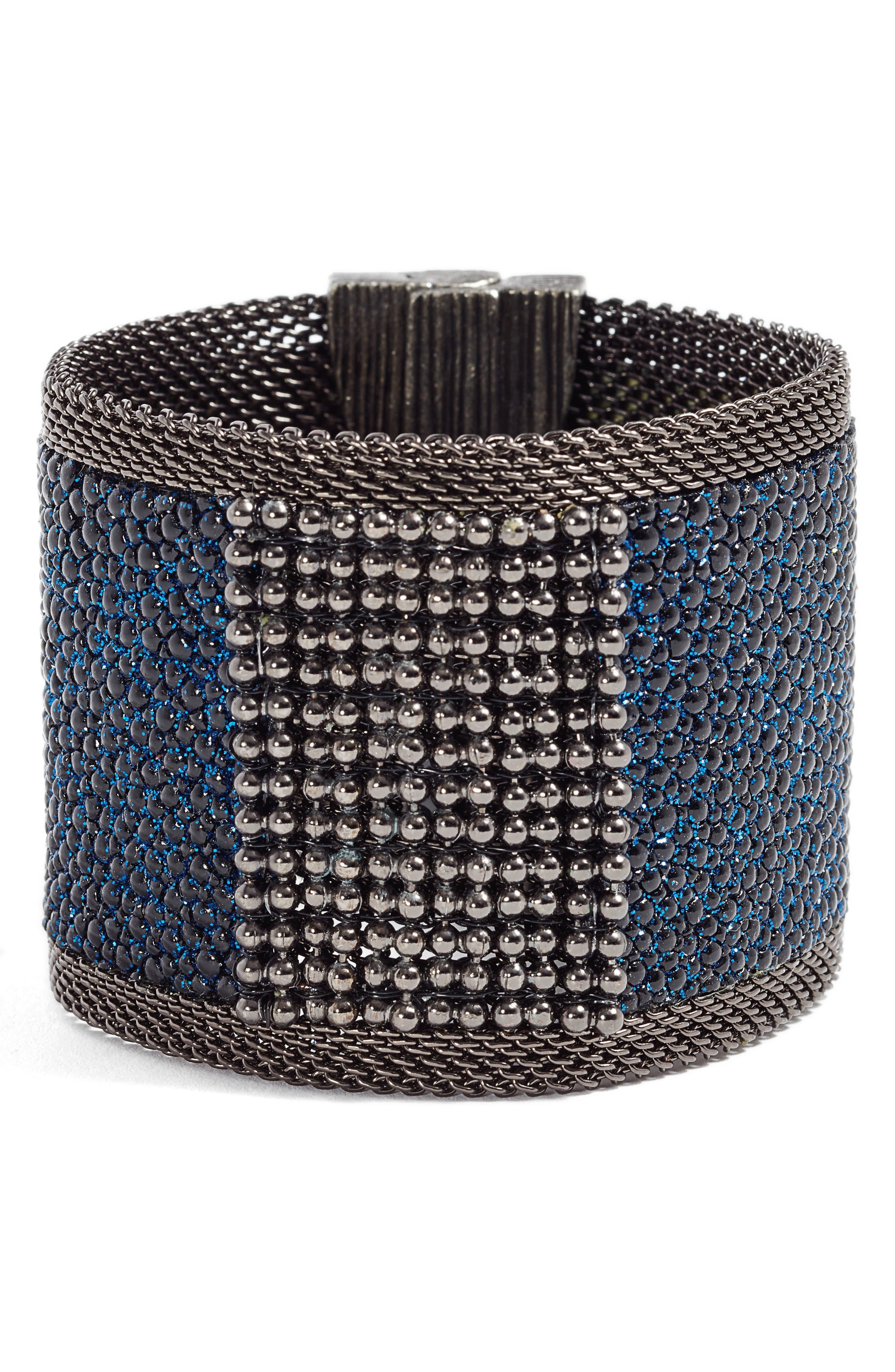 Wide Shimmer Stingray Bracelet,                             Main thumbnail 1, color,                             Black/ Cobalt Blue/ Gun Metal