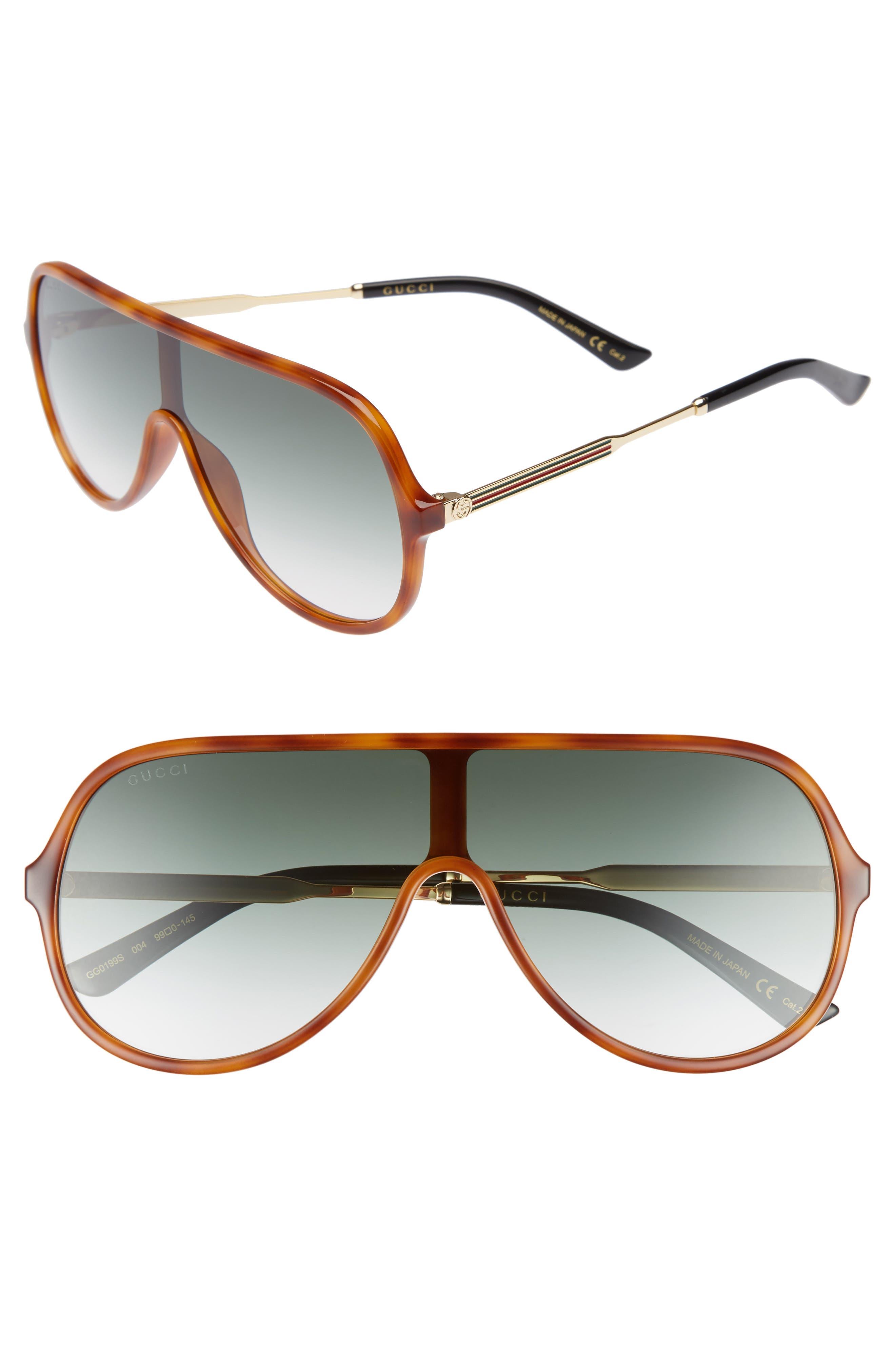 99mm Oversize Shield Sunglasses,                         Main,                         color, Blonde Havana