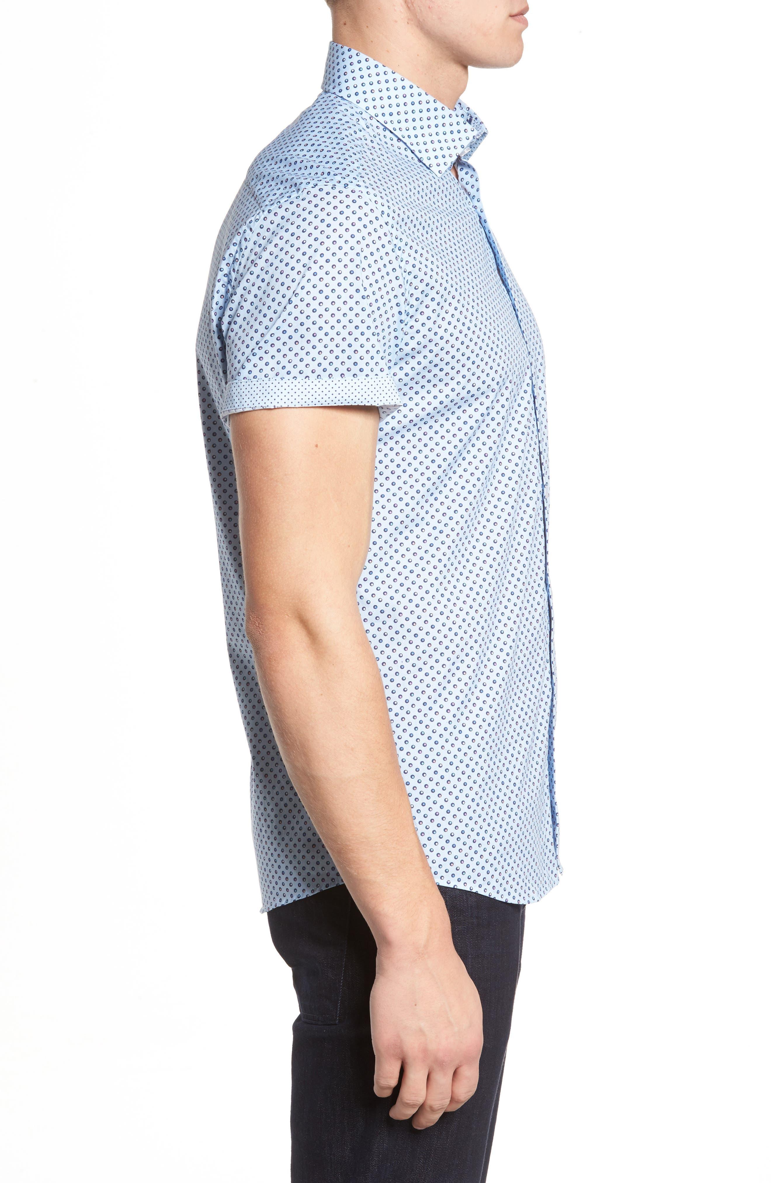 Trim Fit Circle Print Sport Shirt,                             Alternate thumbnail 3, color,                             Sky Blue