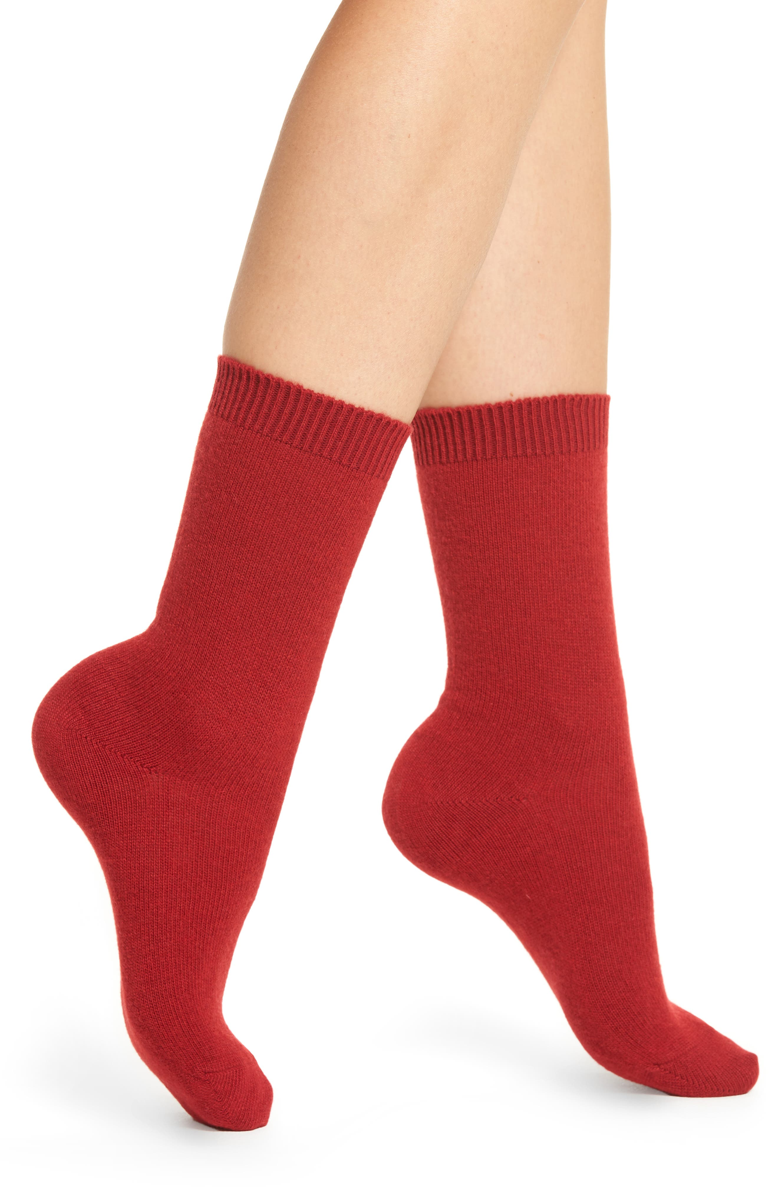 Cosy Crew Socks,                         Main,                         color, Ruby