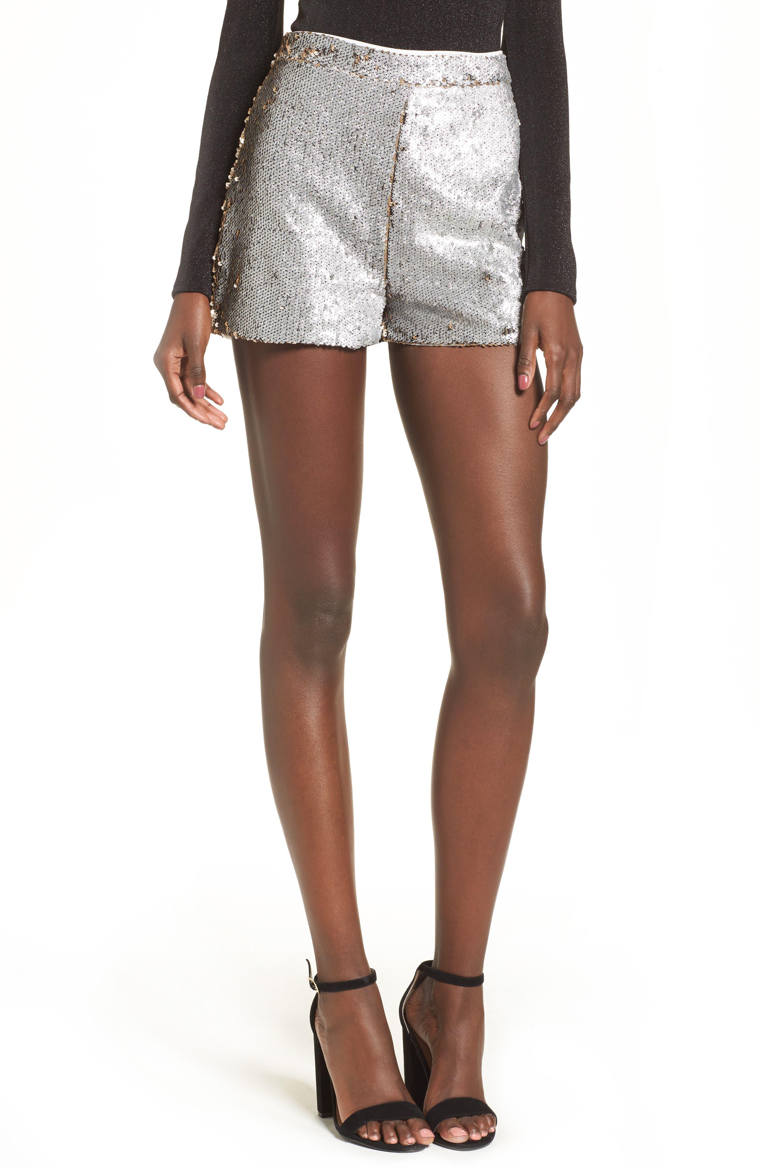 High Waist Sequin Shorts,                             Main thumbnail 1, color,                             Gold/ Silver