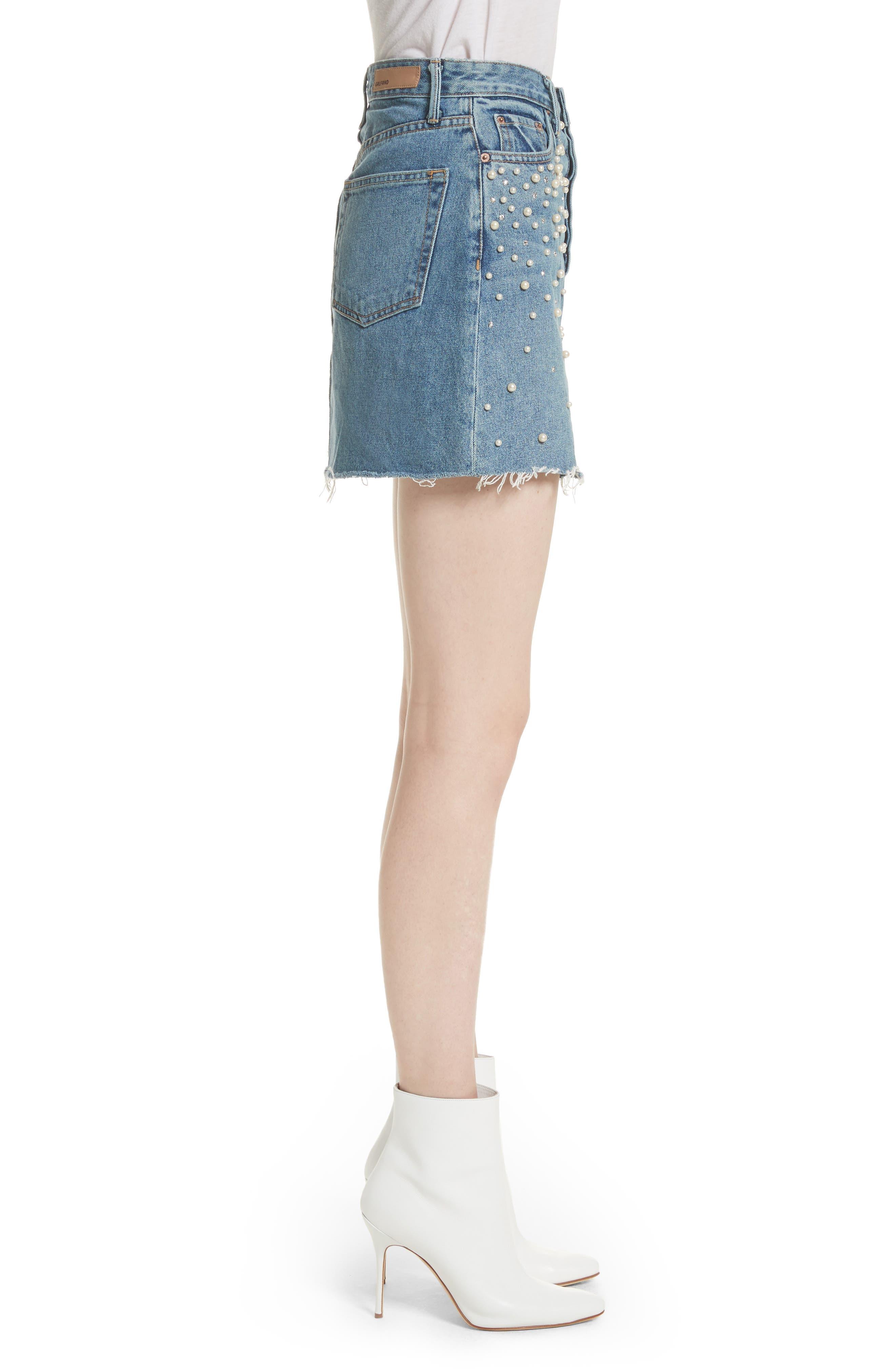 Milla Faux Pearl & Crystal Embellished A-Line Denim Skirt,                             Alternate thumbnail 3, color,                             Solstice