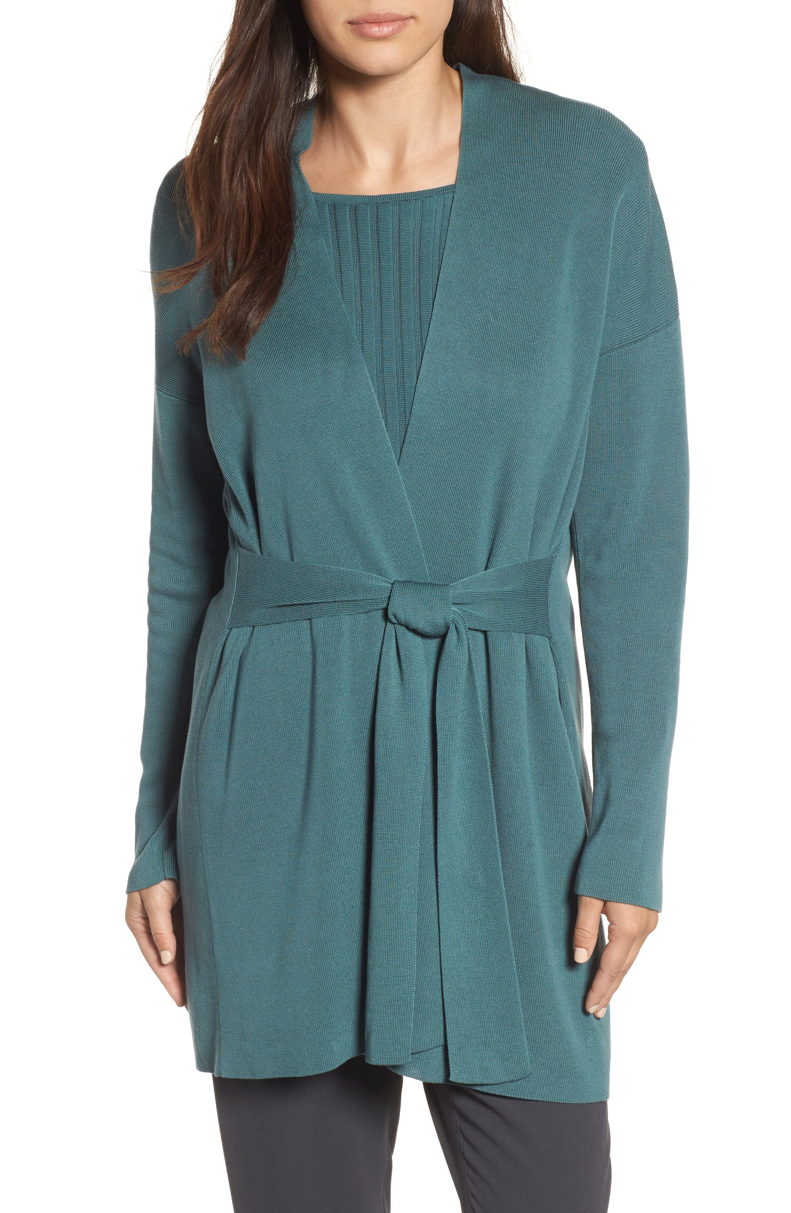 Alternate Image 1 Selected - Eileen Fisher Long Belted Cardigan (Regular & Petite)