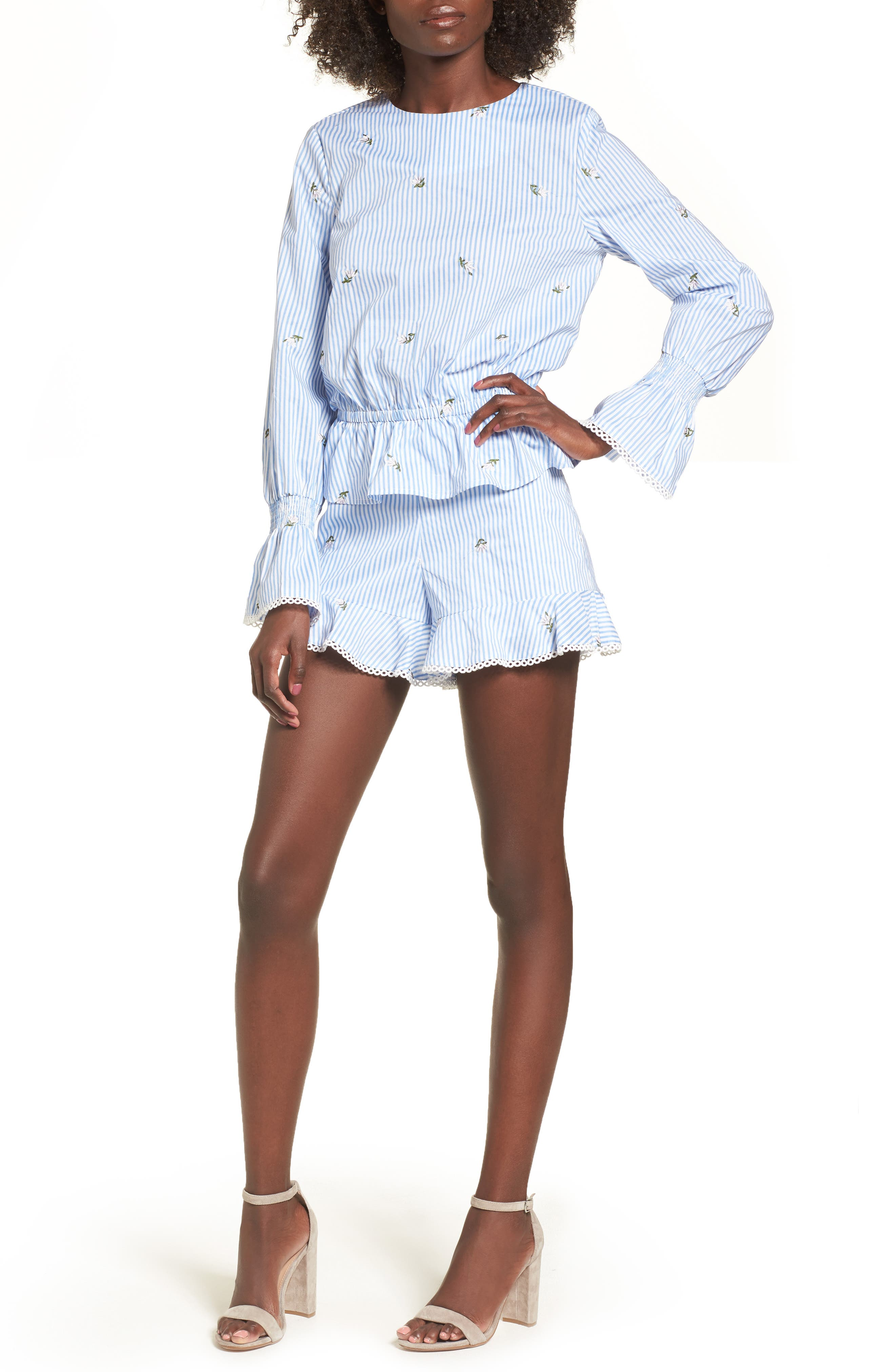 Embroidered Shorts,                             Alternate thumbnail 7, color,                             Blue/ Ivory Stripe