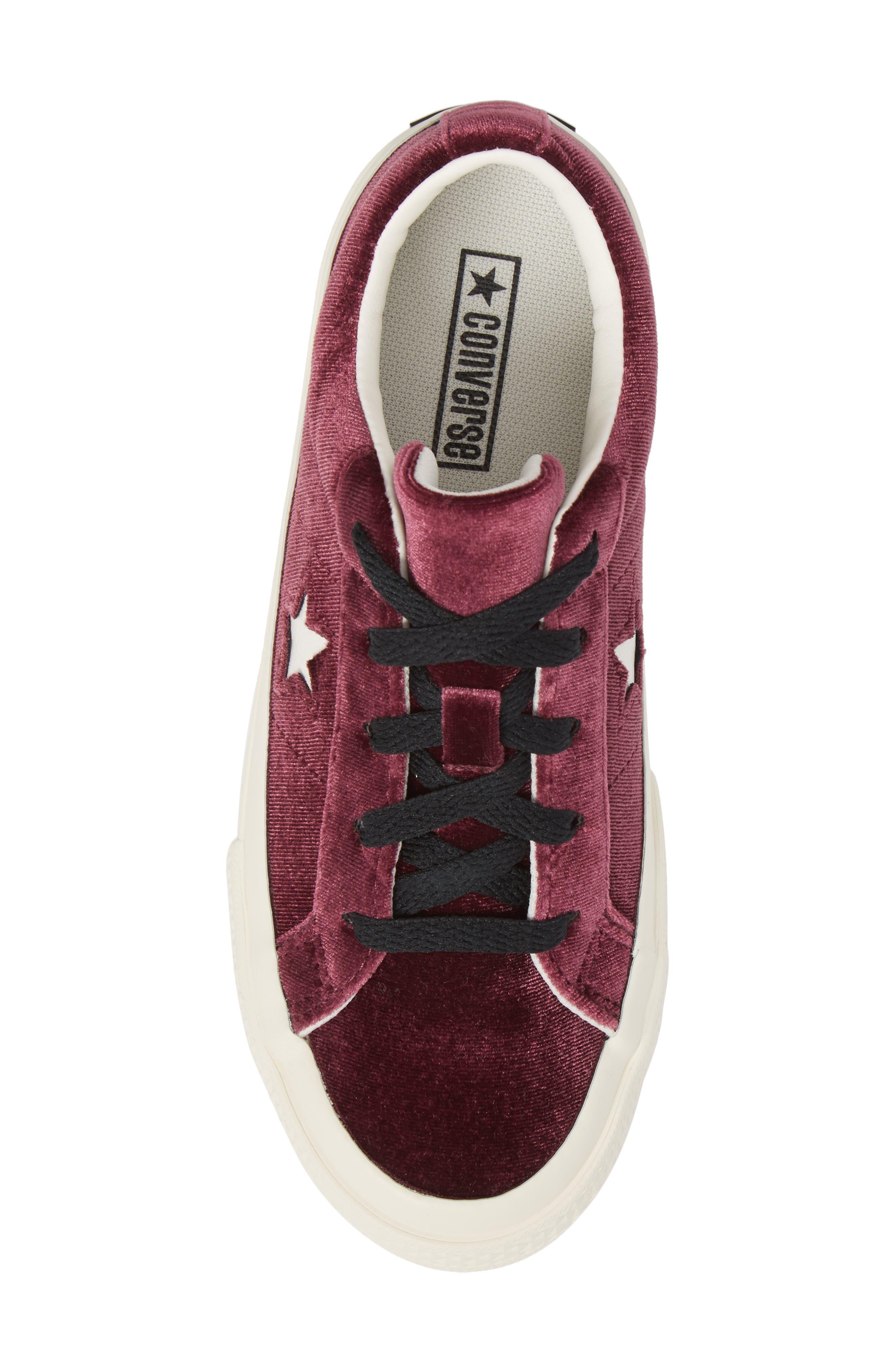 Chuck Taylor<sup>®</sup> All Star<sup>®</sup> One Star Velvet Platform Sneaker,                             Alternate thumbnail 5, color,                             Sangria Velvet